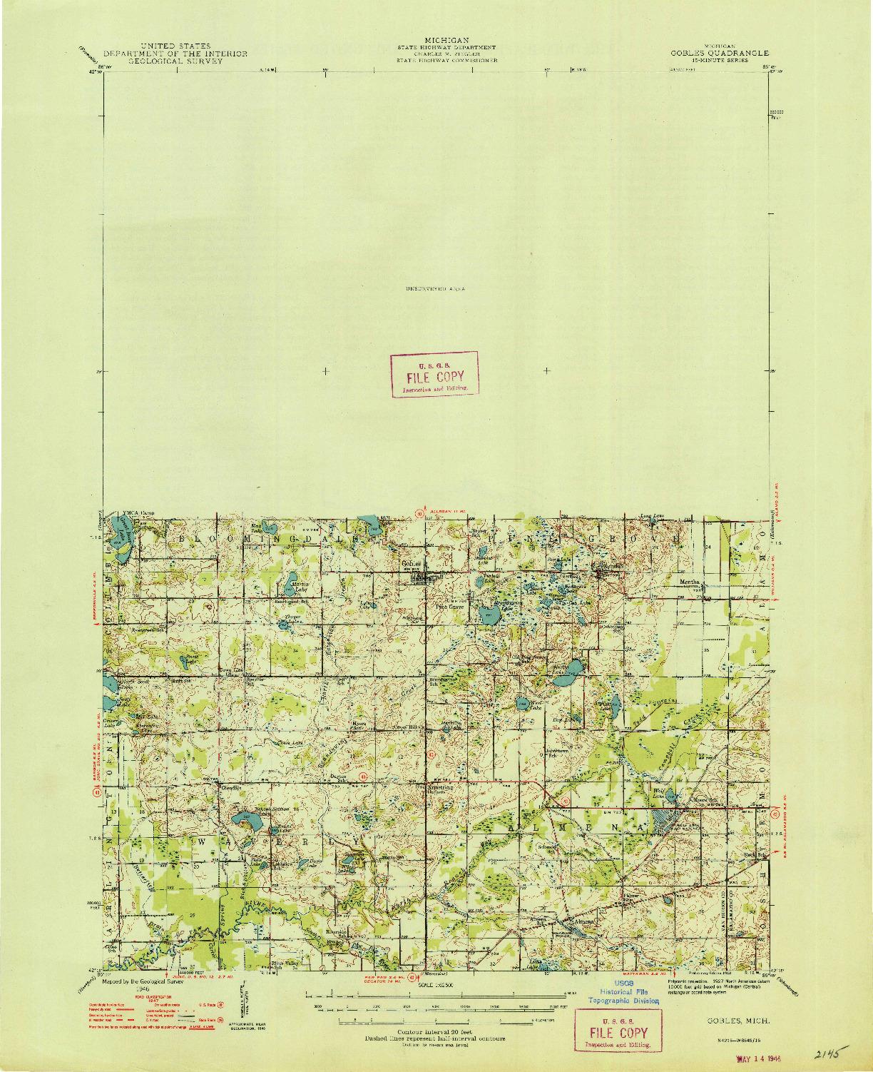USGS 1:62500-SCALE QUADRANGLE FOR GOBLES, MI 1946