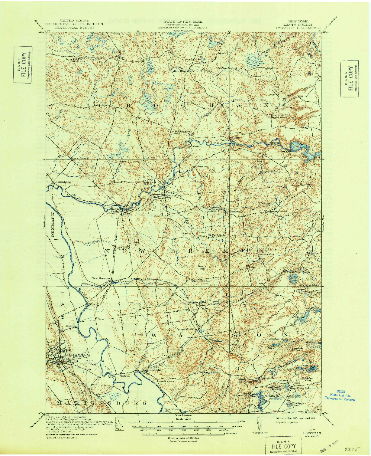 USGS 1:62500-SCALE QUADRANGLE FOR LOWVILLE, NY 1913