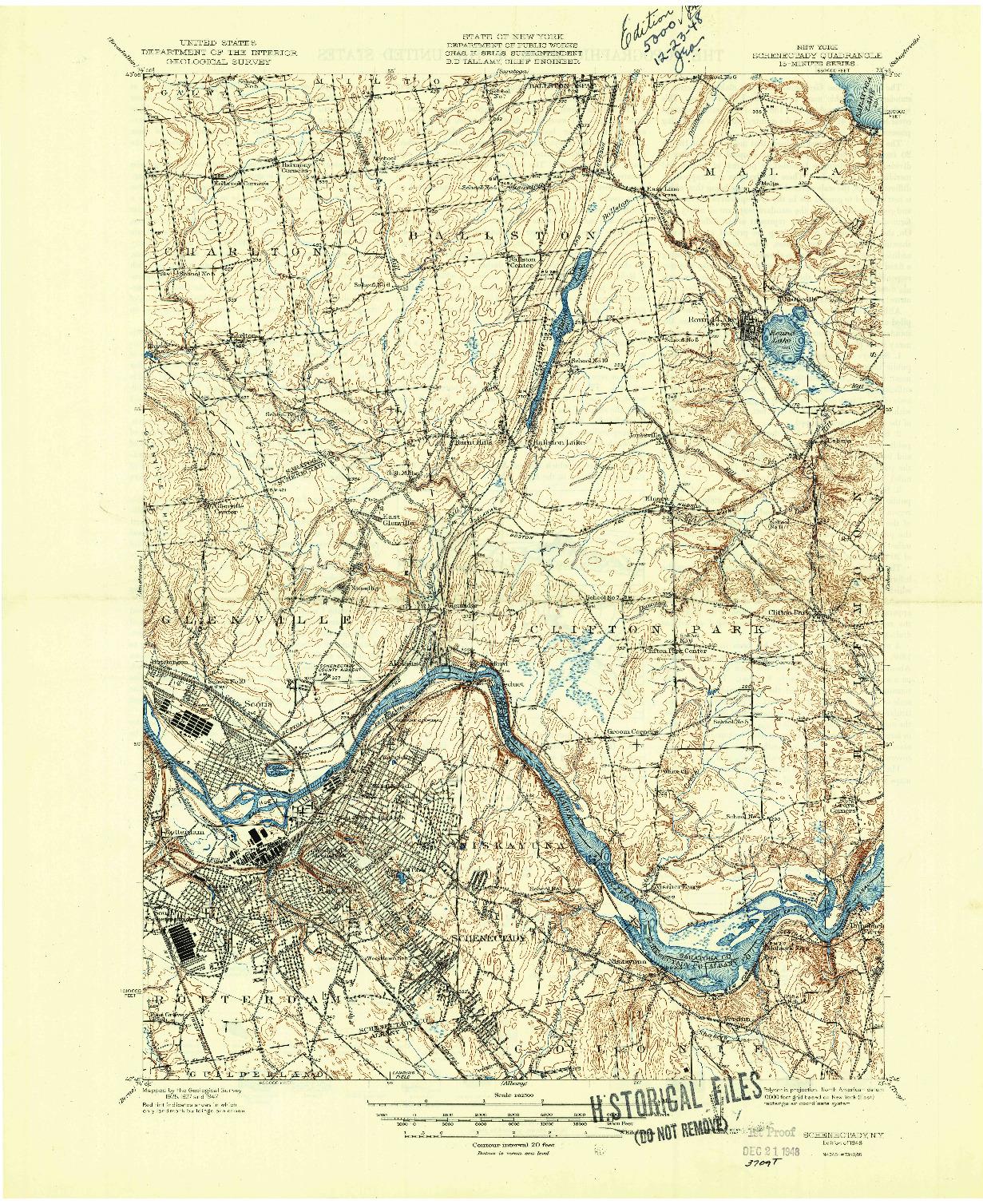 USGS 1:62500-SCALE QUADRANGLE FOR SCHENECTADY, NY 1948