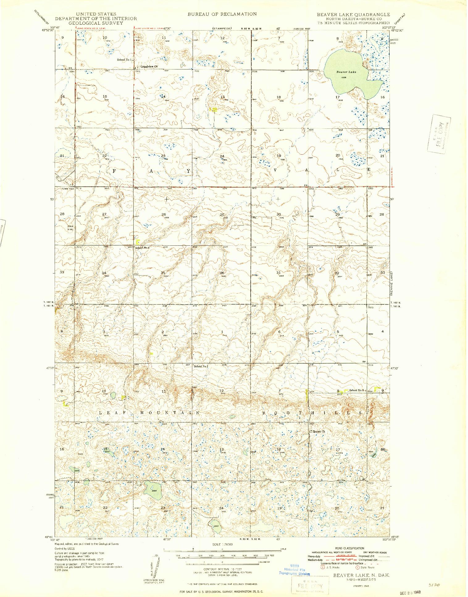 USGS 1:24000-SCALE QUADRANGLE FOR BEAVER LAKE, ND 1948
