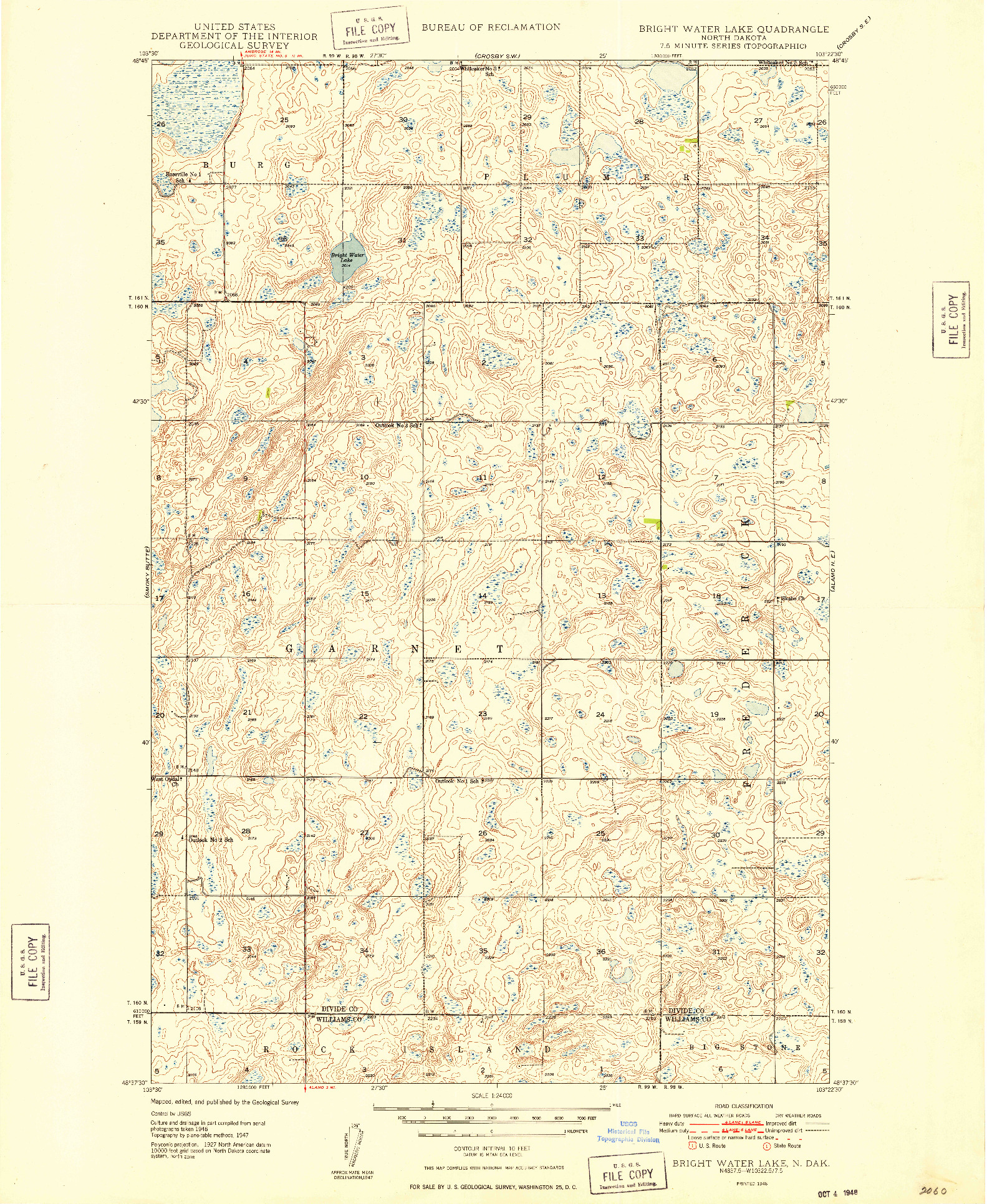 USGS 1:24000-SCALE QUADRANGLE FOR BRIGHT WATER LAKE, ND 1948