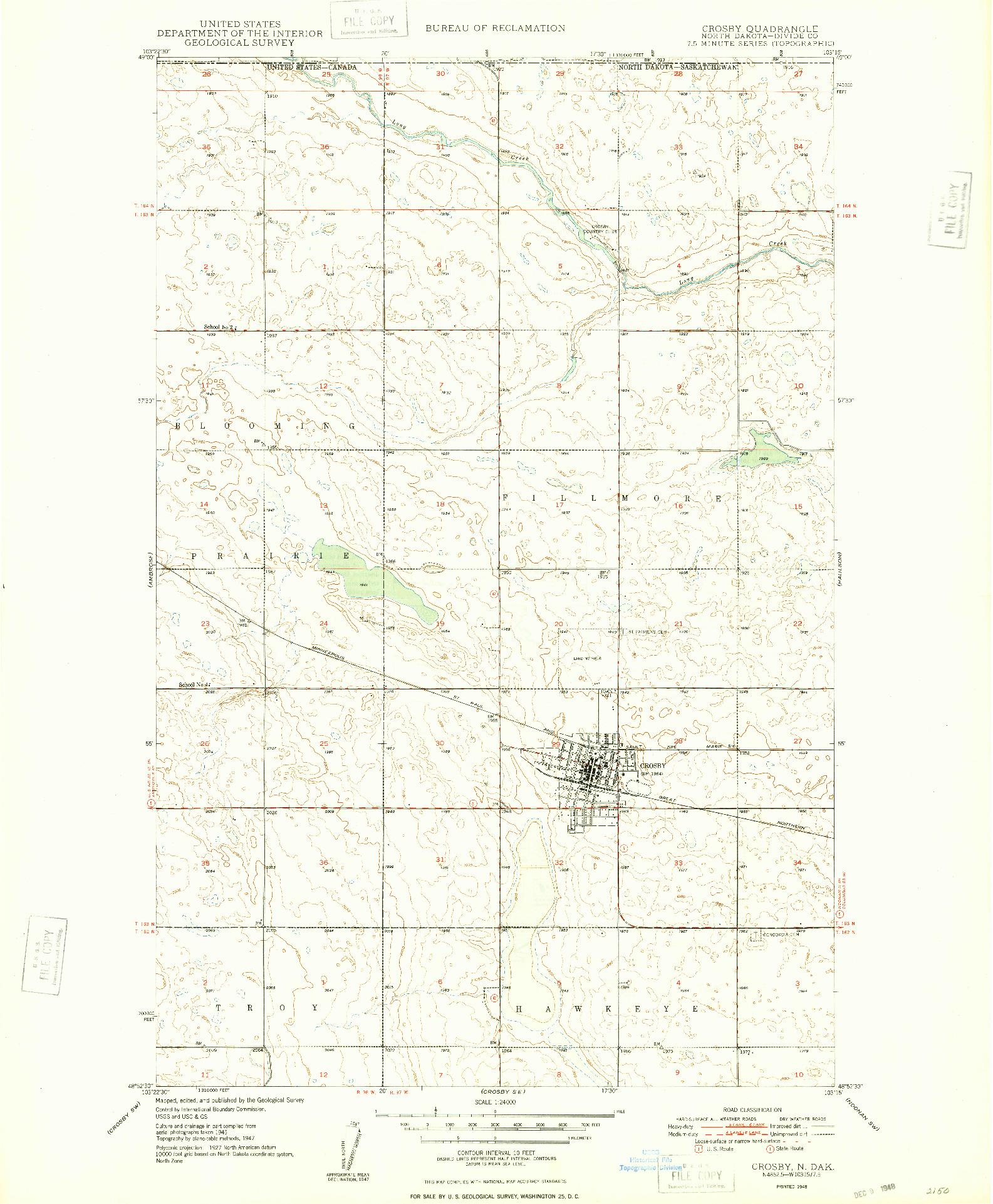 USGS 1:24000-SCALE QUADRANGLE FOR CROSBY, ND 1948