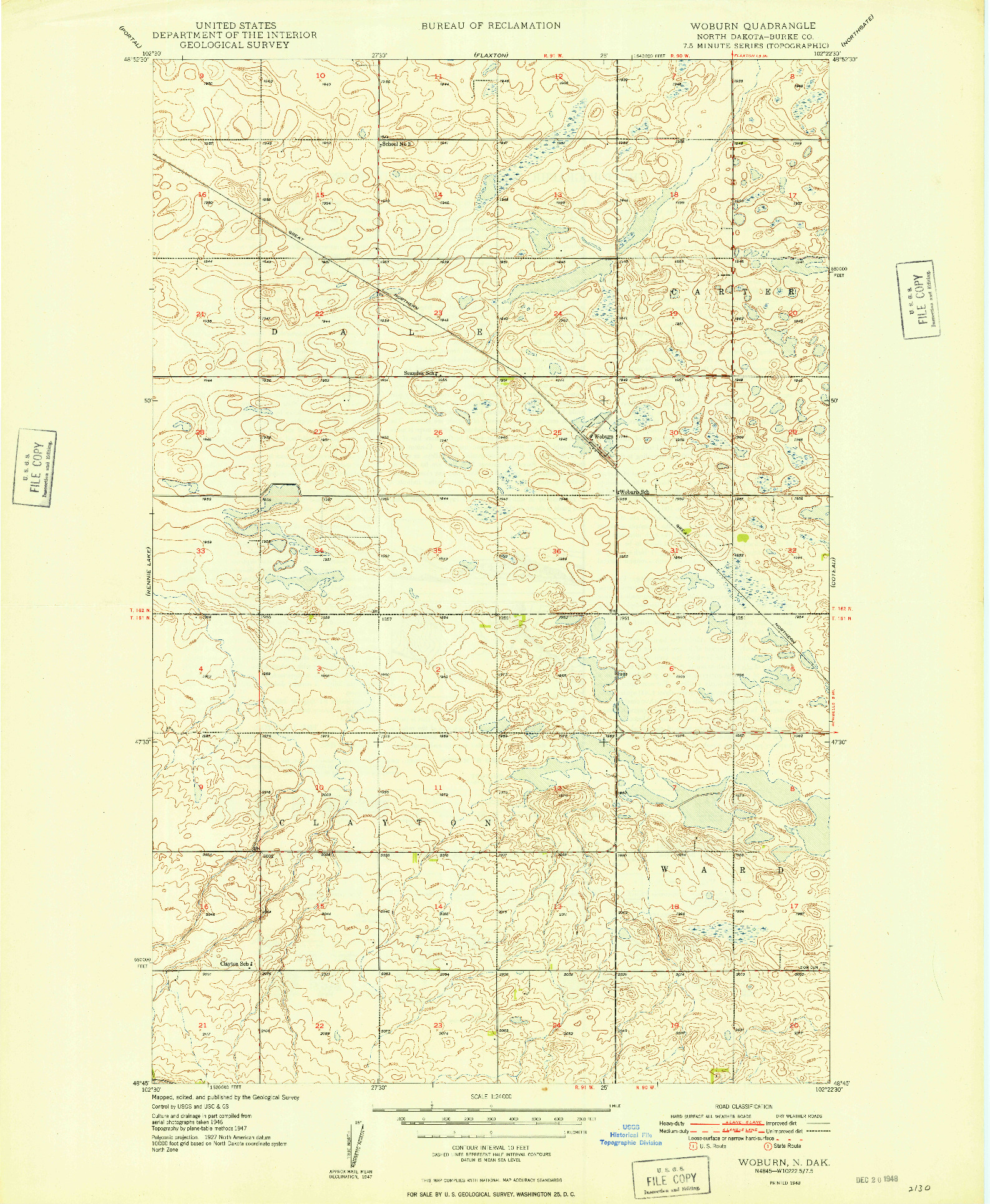 USGS 1:24000-SCALE QUADRANGLE FOR WOBURN, ND 1948