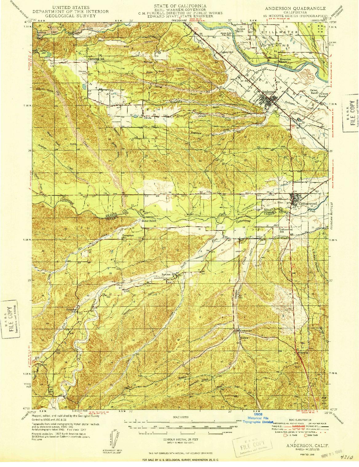USGS 1:62500-SCALE QUADRANGLE FOR ANDERSON, CA 1948