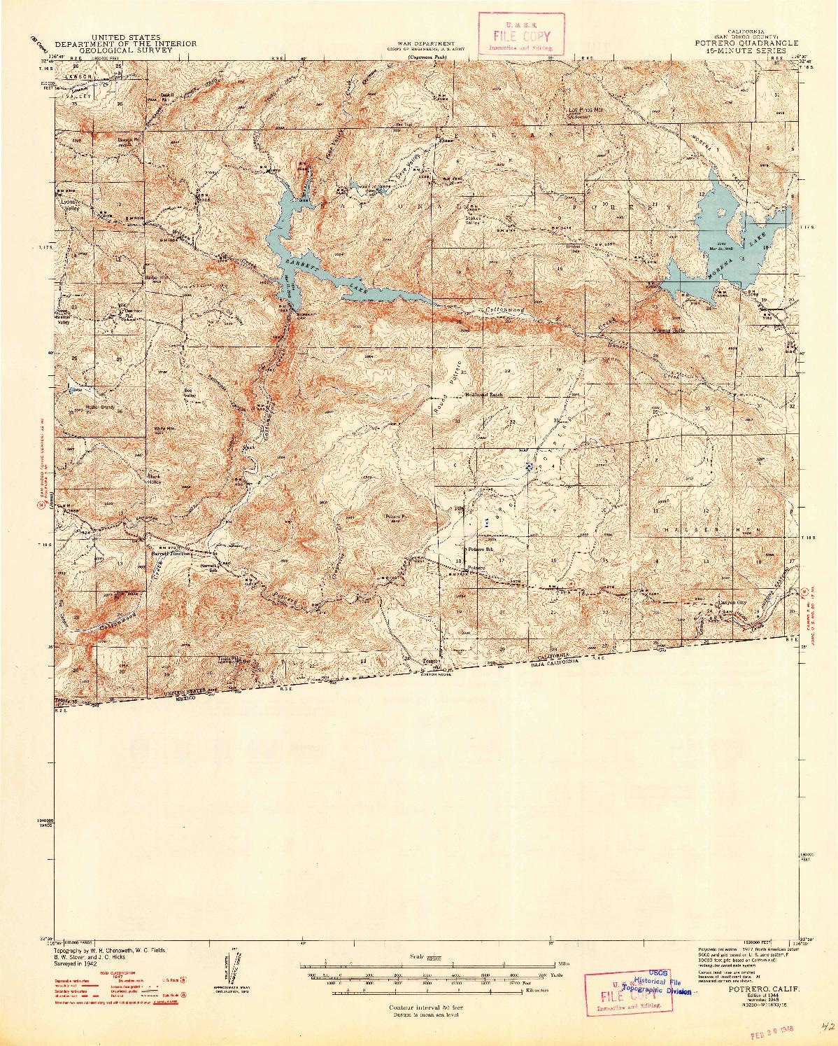 USGS 1:62500-SCALE QUADRANGLE FOR POTRERO, CA 1944