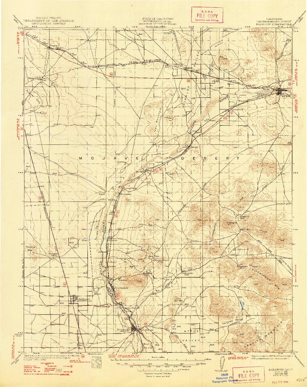 USGS 1:125000-SCALE QUADRANGLE FOR BARSTOW, CA 1934