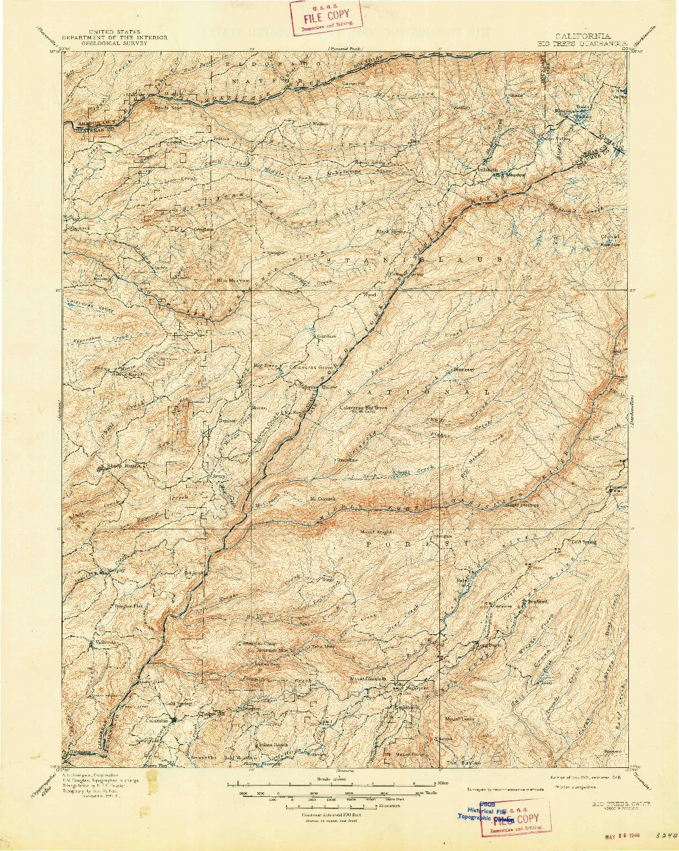 USGS 1:125000-SCALE QUADRANGLE FOR BIG TREES, CA 1901