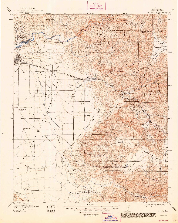 USGS 1:125000-SCALE QUADRANGLE FOR CALIENTE, CA 1914