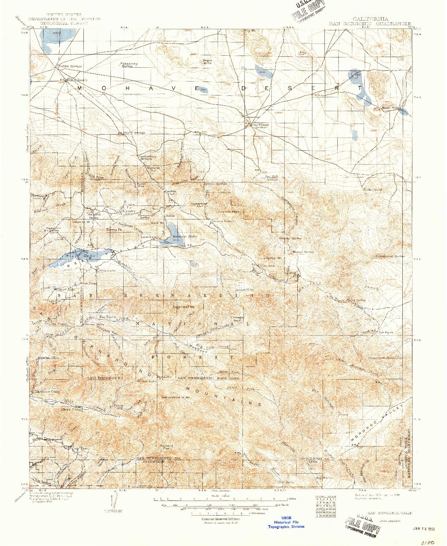 USGS 1:125000-SCALE QUADRANGLE FOR SAN GORGONIO, CA 1902