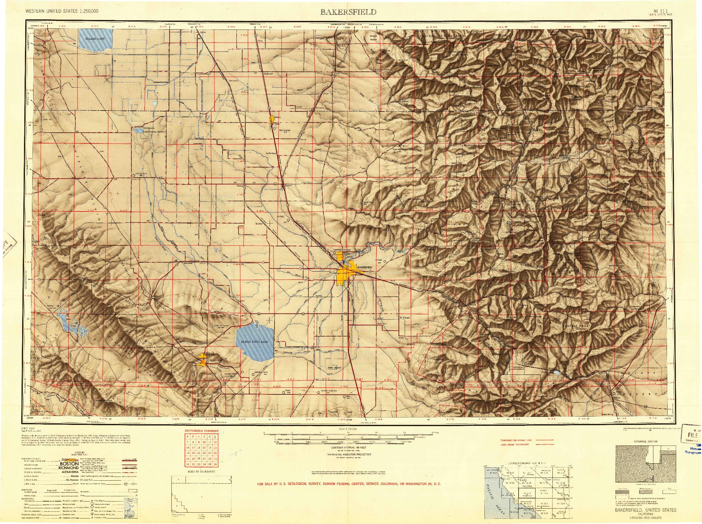 USGS 1:250000-SCALE QUADRANGLE FOR BAKERSFIELD, CA 1948
