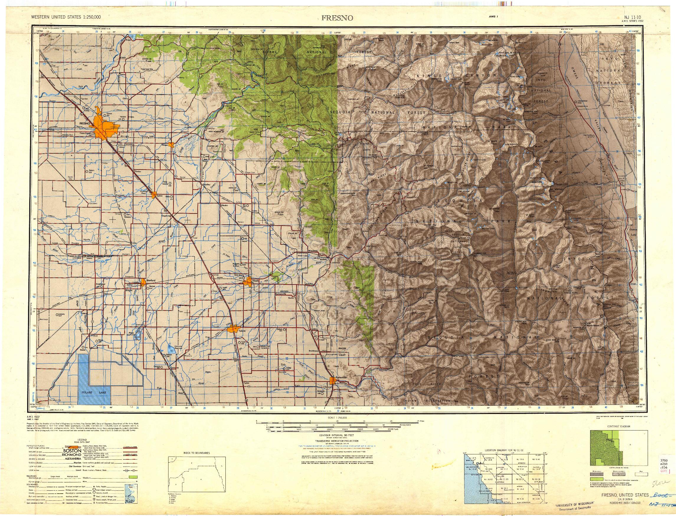 USGS 1:250000-SCALE QUADRANGLE FOR FRESNO, CA 1948