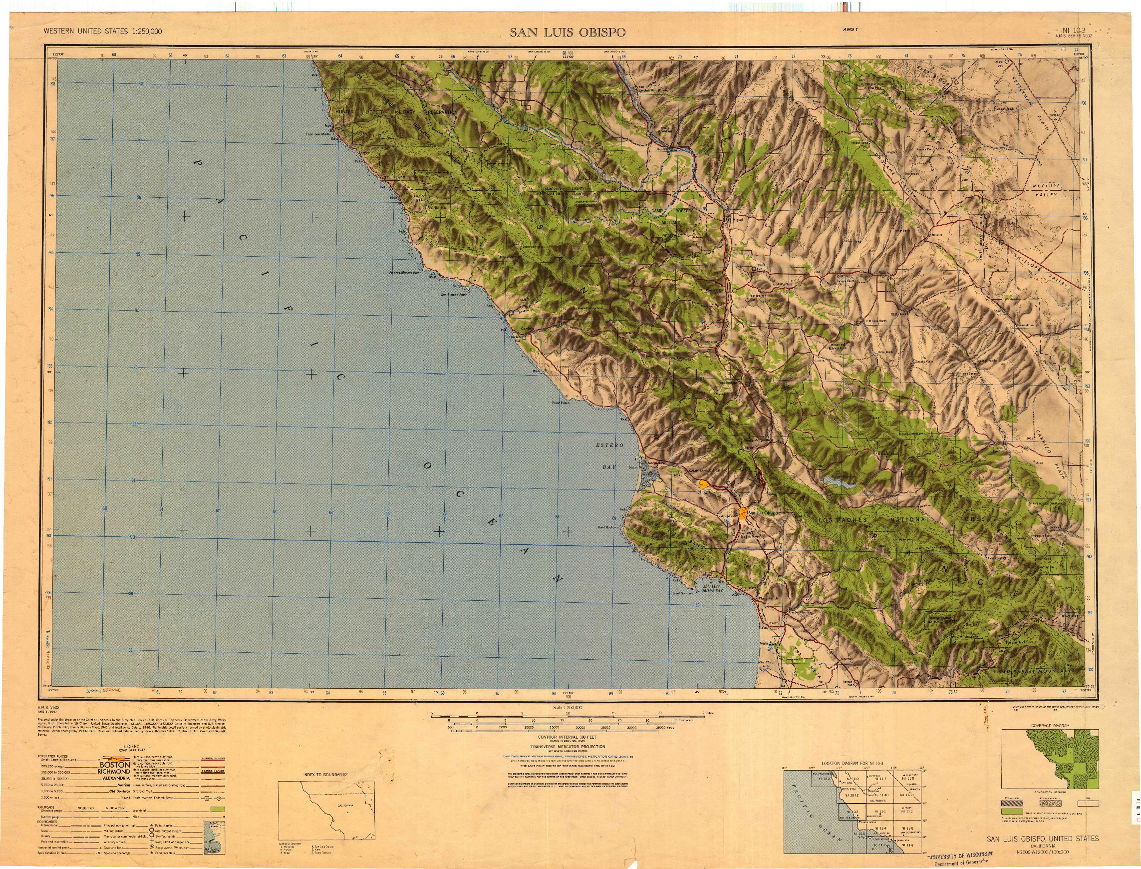 USGS 1:250000-SCALE QUADRANGLE FOR SAN LUIS OBISPO, CA 1947