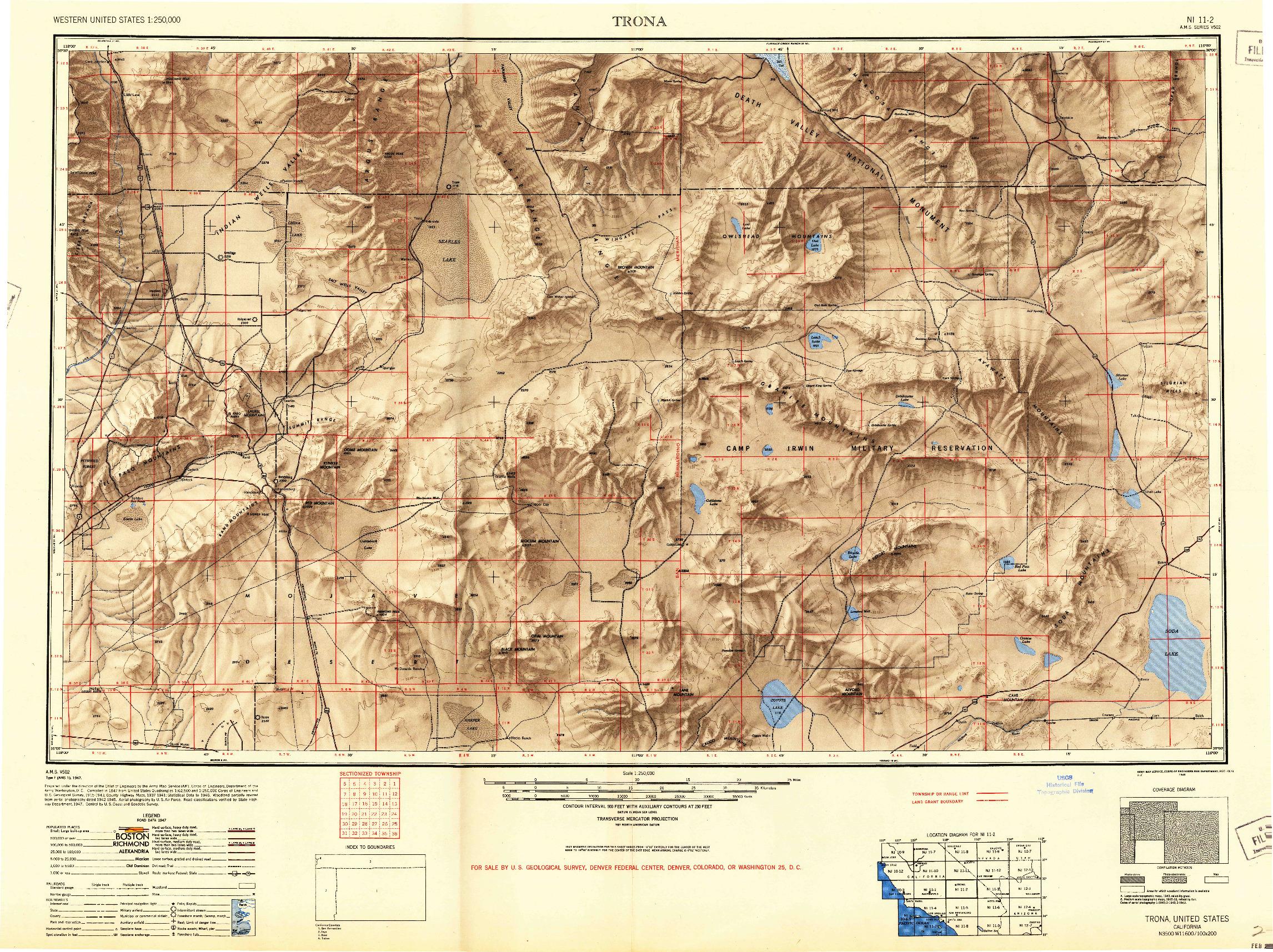 USGS 1:250000-SCALE QUADRANGLE FOR TRONA, CA 1947