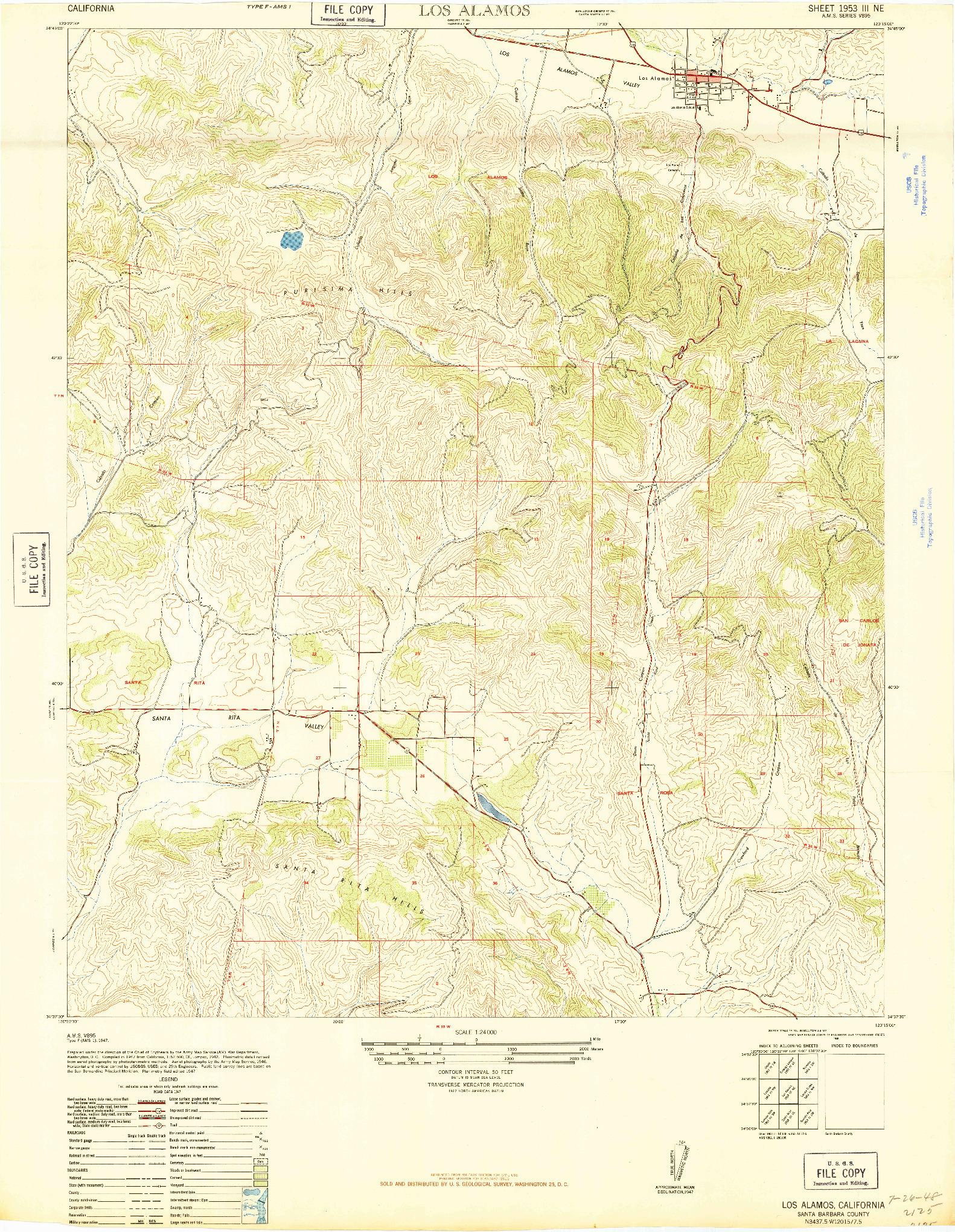 USGS 1:24000-SCALE QUADRANGLE FOR LOS ALAMOS, CA 1948