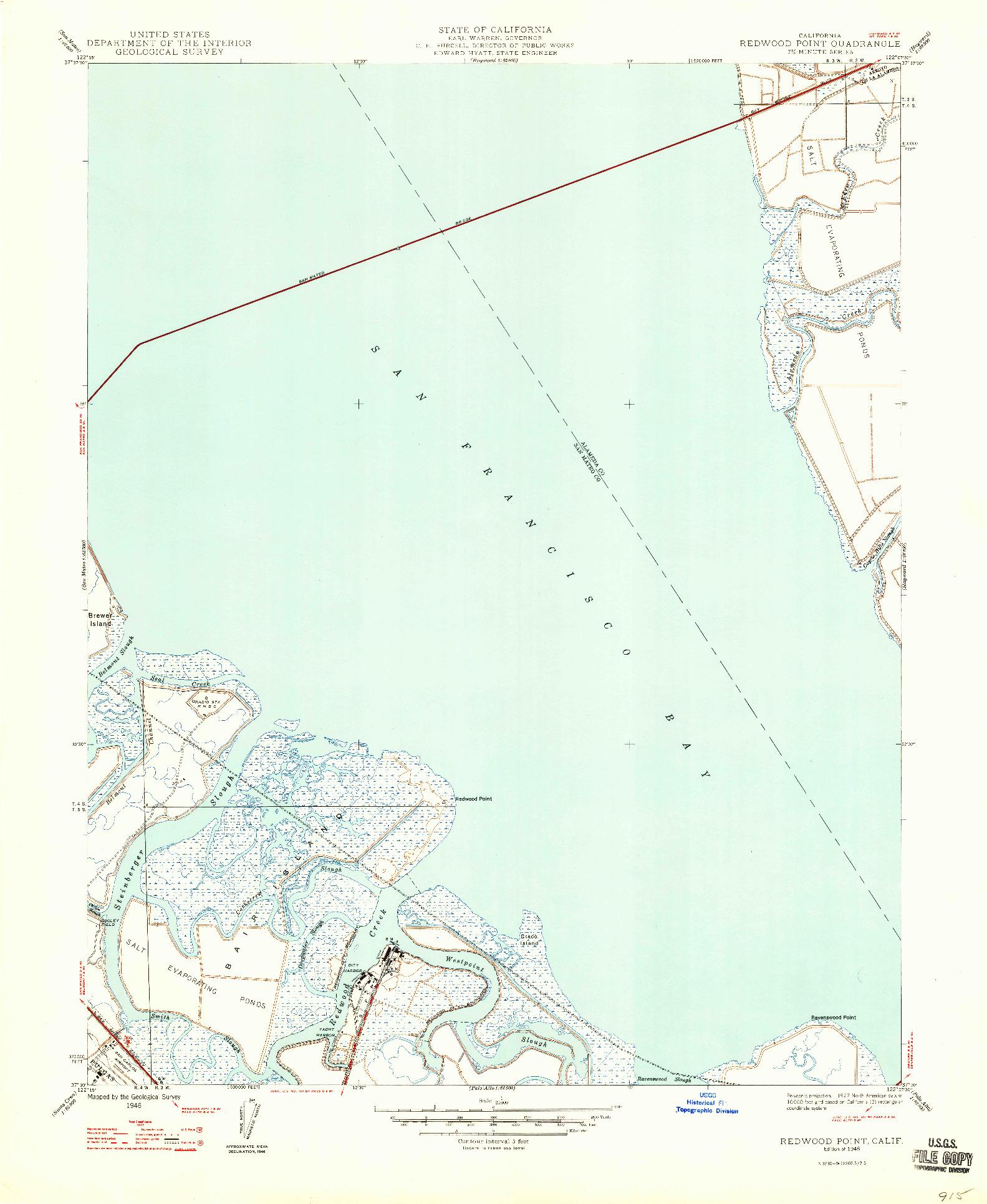 USGS 1:24000-SCALE QUADRANGLE FOR REDWOOD POINT, CA 1948