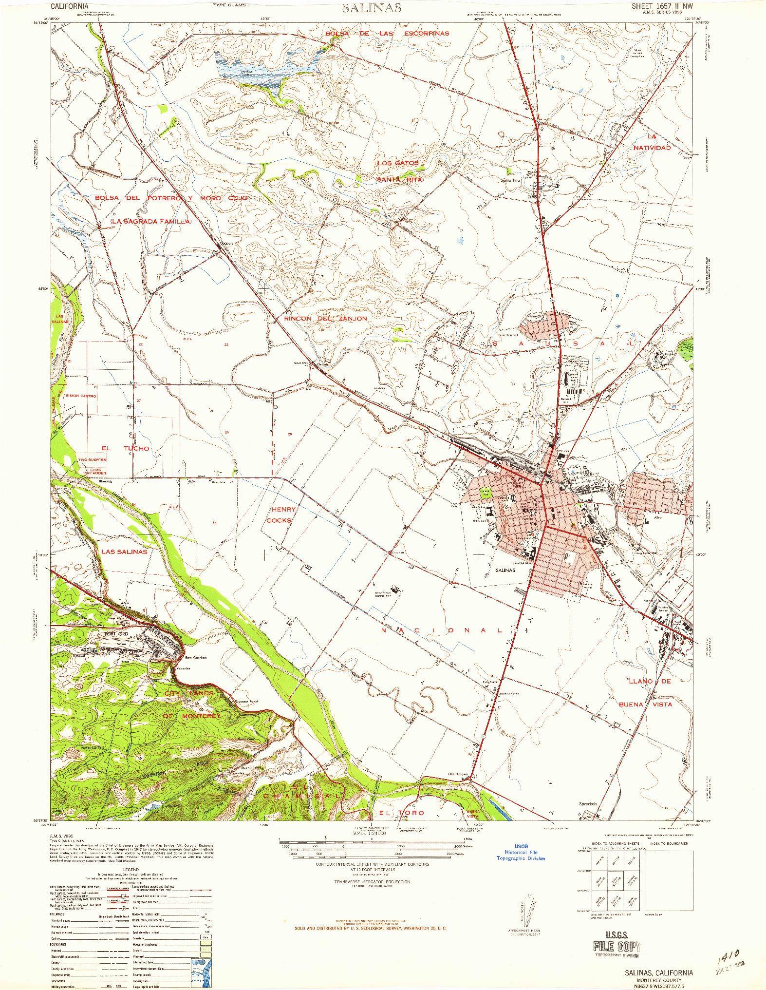 USGS 1:24000-SCALE QUADRANGLE FOR SALINAS, CA 1947
