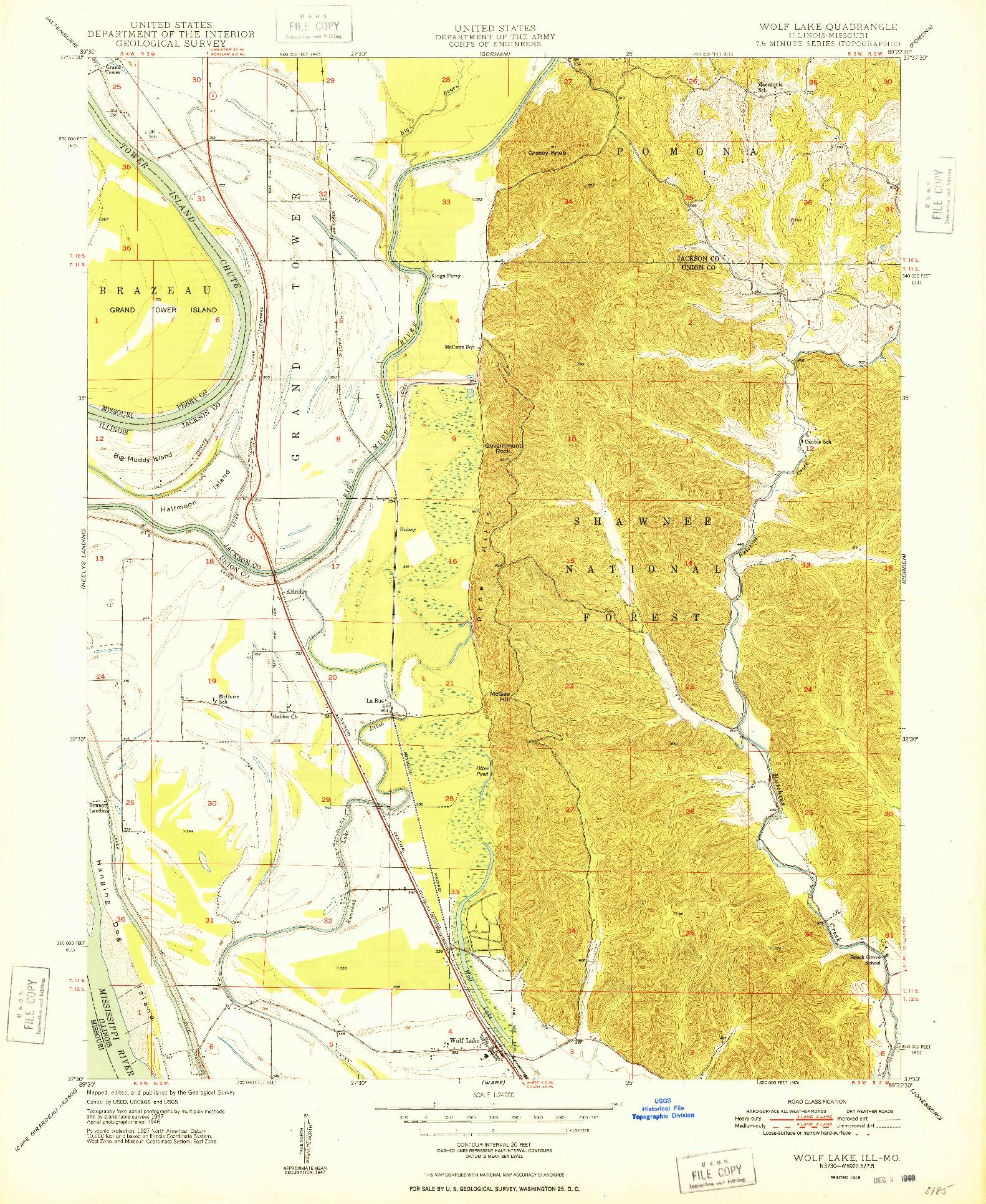 USGS 1:24000-SCALE QUADRANGLE FOR WOLF LAKE, IL 1948