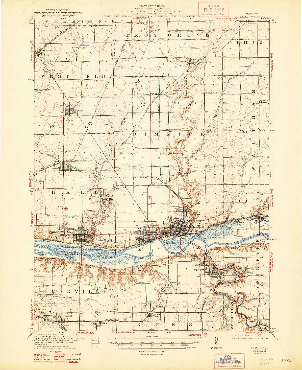 USGS 1:62500-SCALE QUADRANGLE FOR LA SALLE, IL 1913