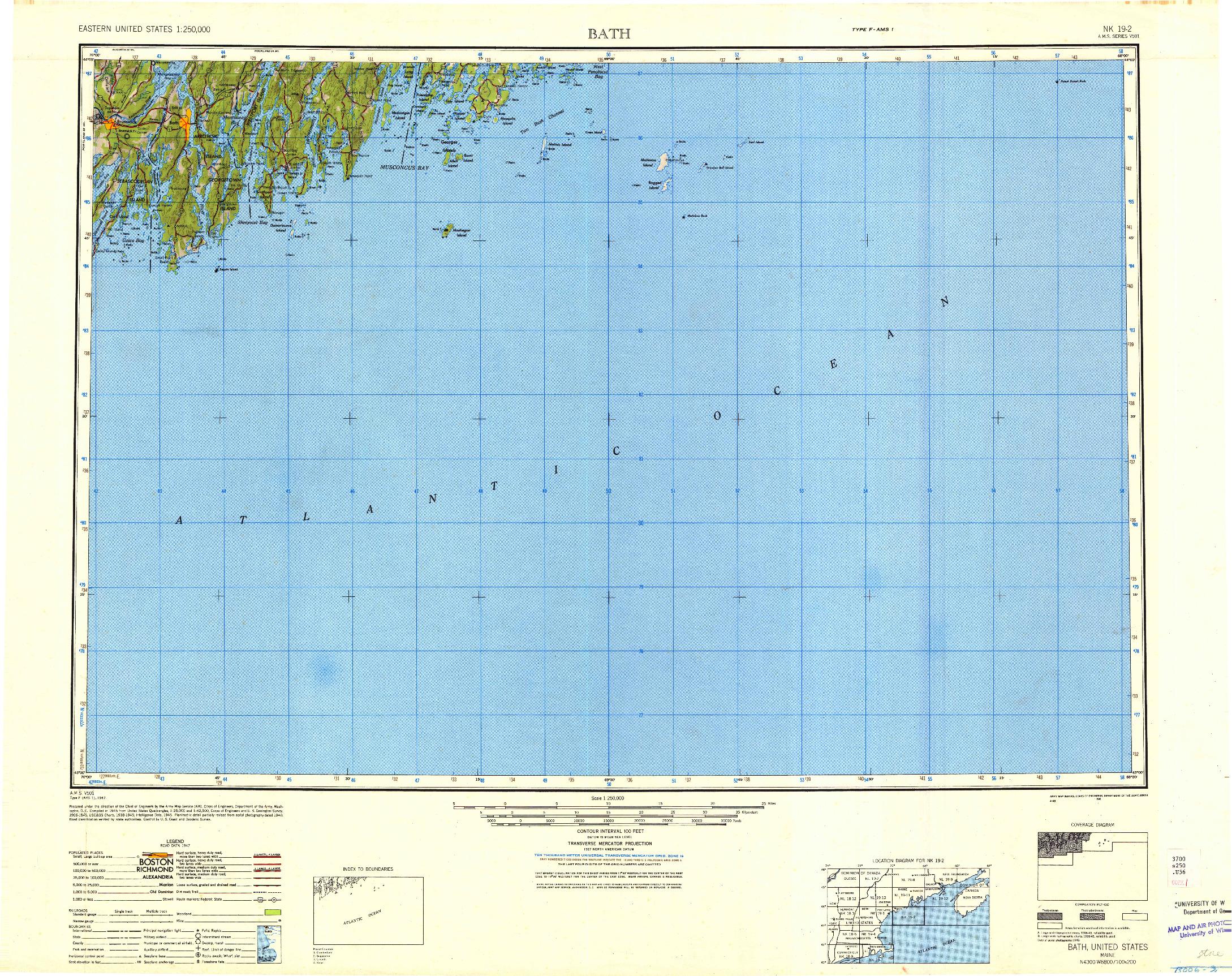 USGS 1:250000-SCALE QUADRANGLE FOR BATH, ME 1948