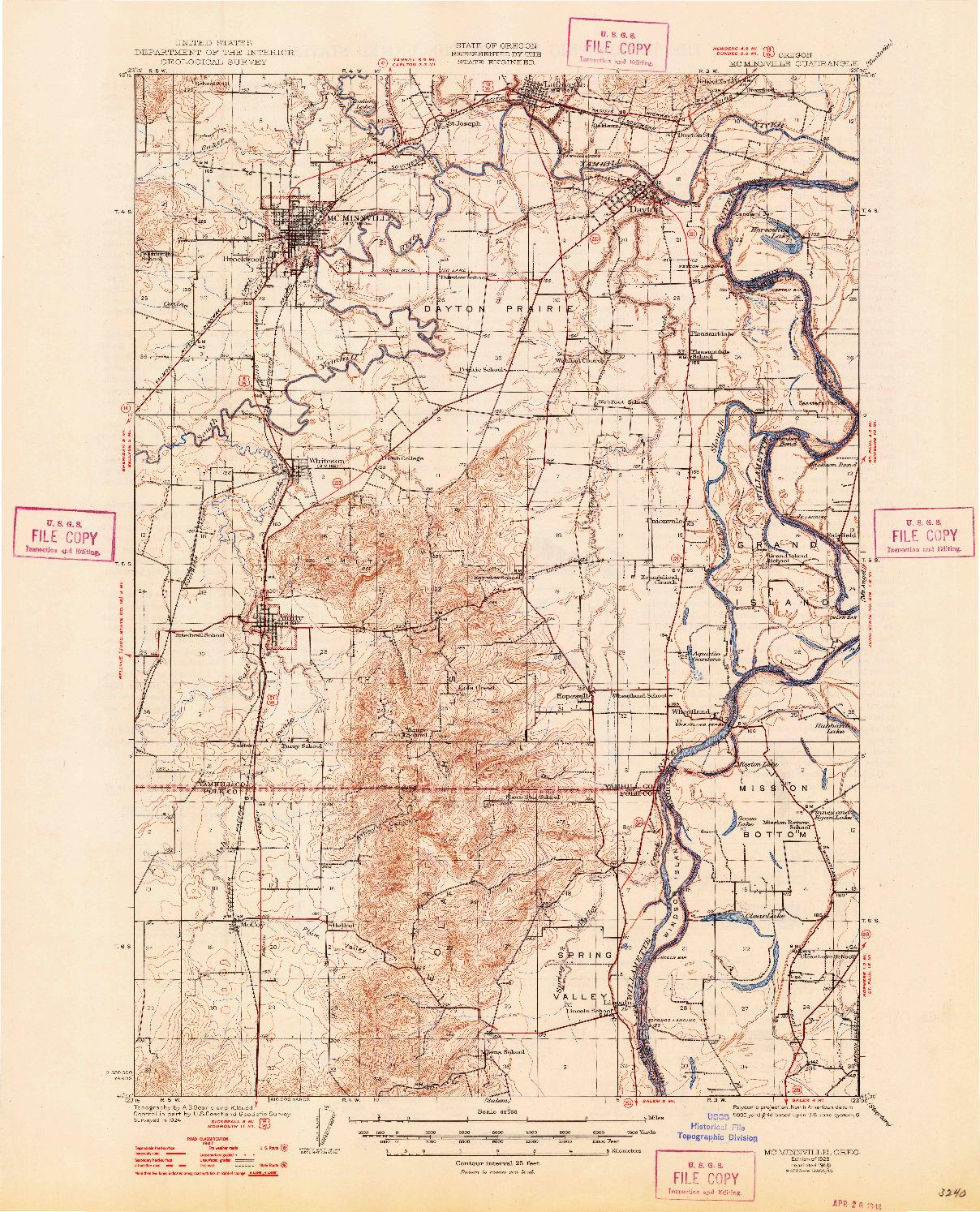 USGS 1:62500-SCALE QUADRANGLE FOR MC MINNVILLE, OR 1926