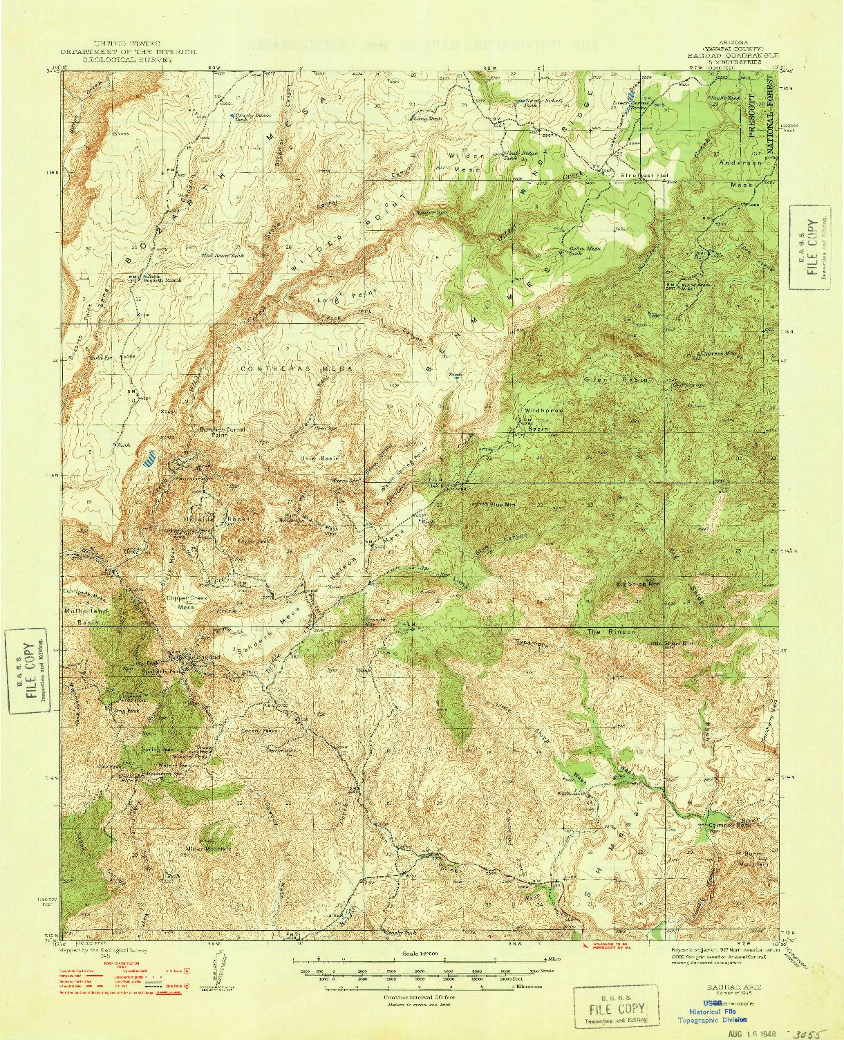 USGS 1:62500-SCALE QUADRANGLE FOR BAGDAD, AZ 1948