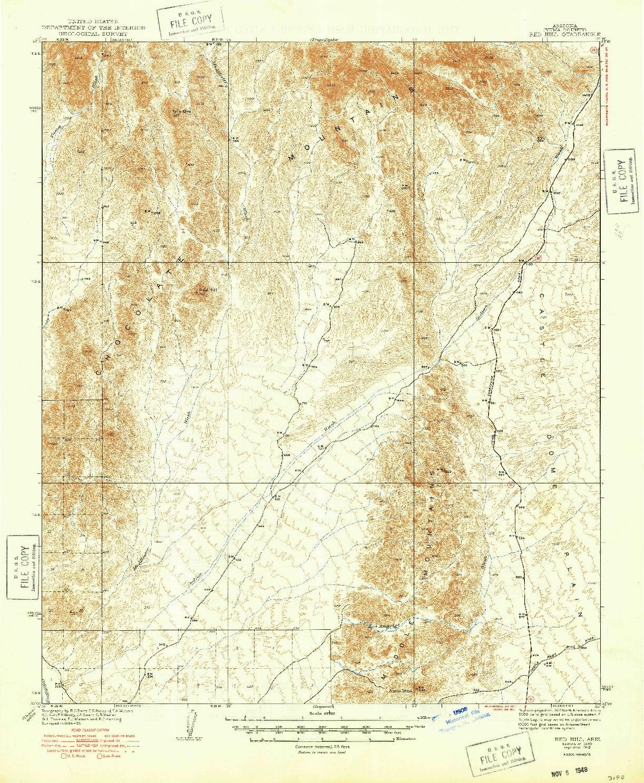 USGS 1:62500-SCALE QUADRANGLE FOR RED HILL, AZ 1939