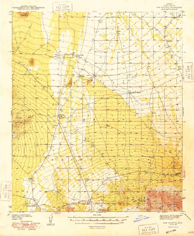 USGS 1:62500-SCALE QUADRANGLE FOR SAN VICENTE, AZ 1948
