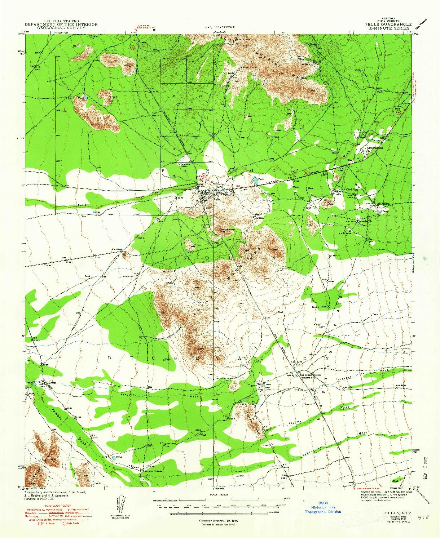 USGS 1:62500-SCALE QUADRANGLE FOR SELLS, AZ 1943
