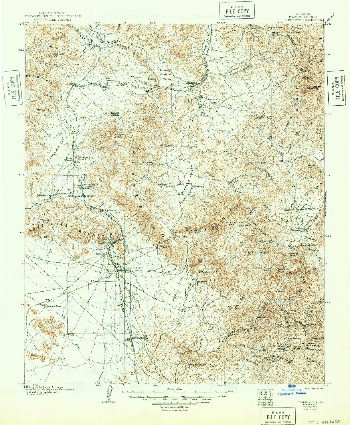 USGS 1:125000-SCALE QUADRANGLE FOR CONGRESS, AZ 1904