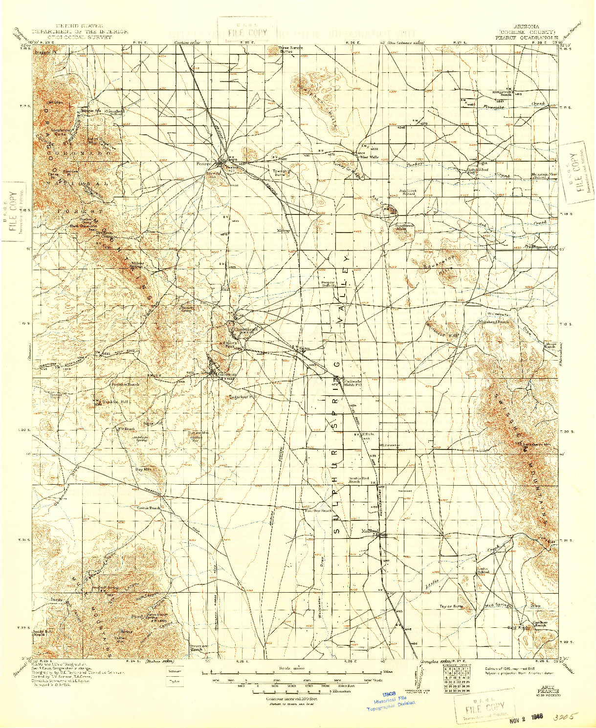 USGS 1:125000-SCALE QUADRANGLE FOR PEARCE, AZ 1916
