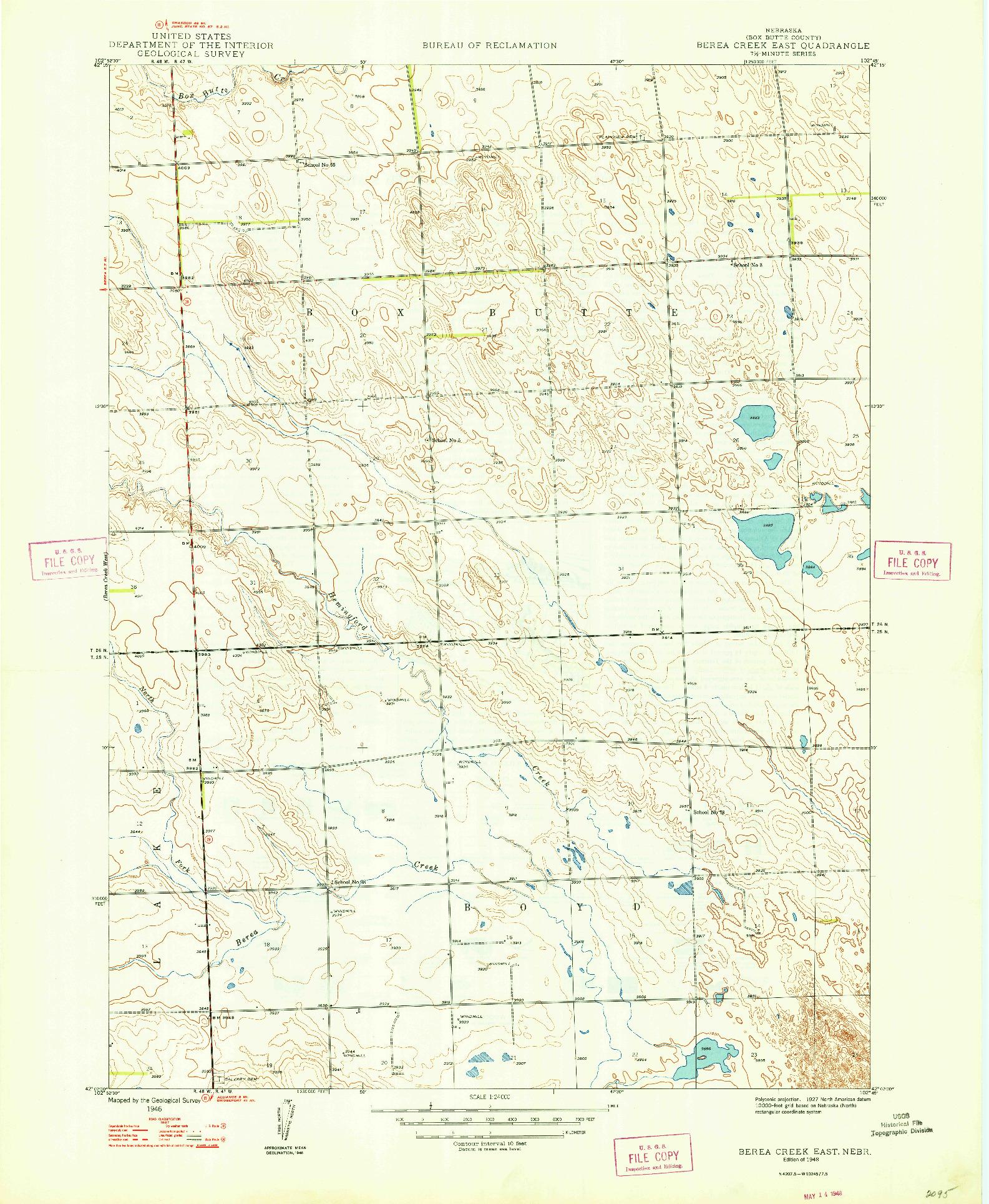 USGS 1:24000-SCALE QUADRANGLE FOR BEREA CREEK EAST, NE 1948