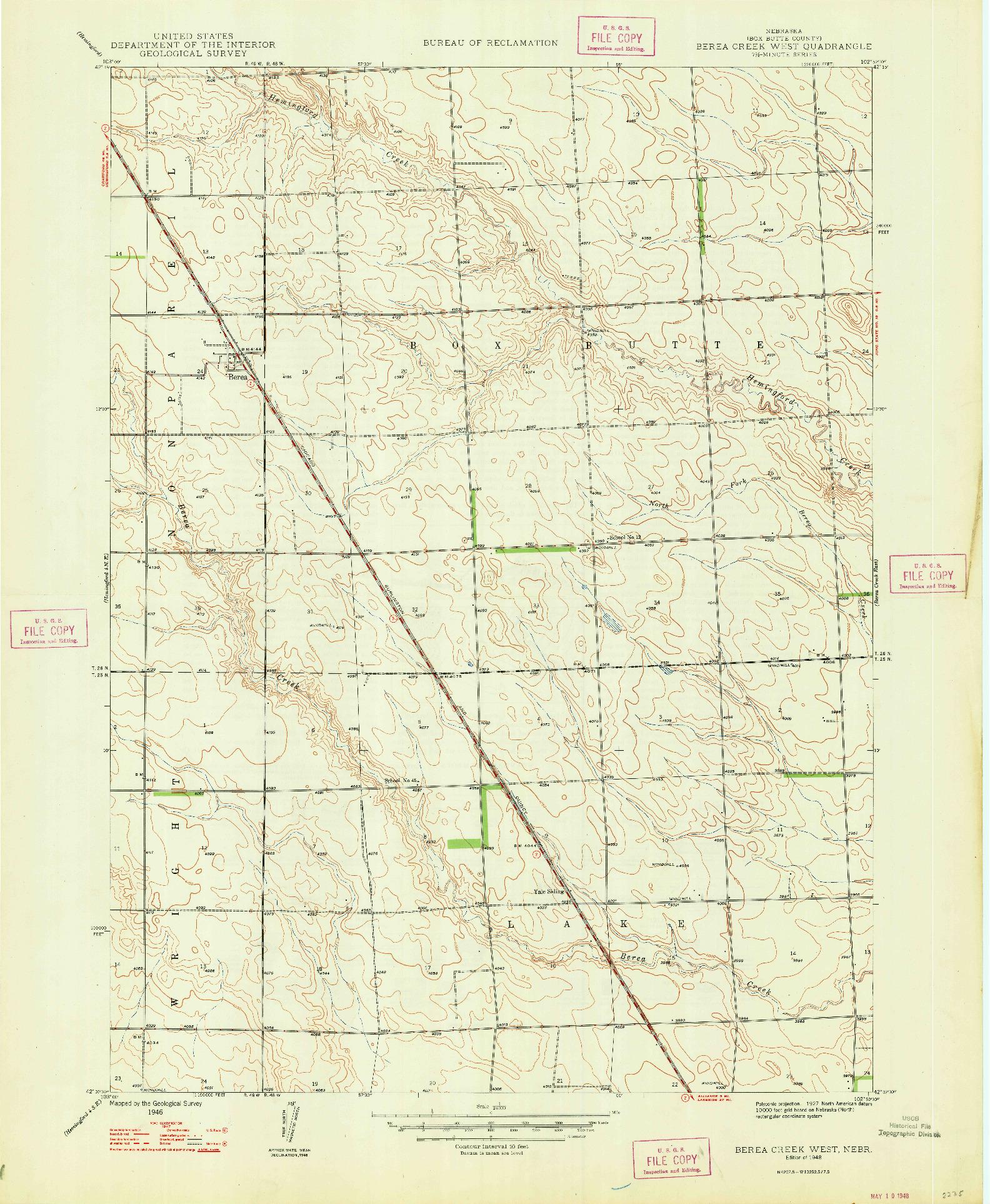 USGS 1:24000-SCALE QUADRANGLE FOR BEREA CREEK WEST, NE 1948
