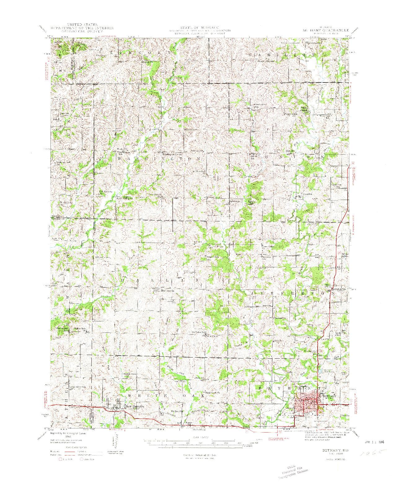 USGS 1:62500-SCALE QUADRANGLE FOR BETHANY, MO 1948