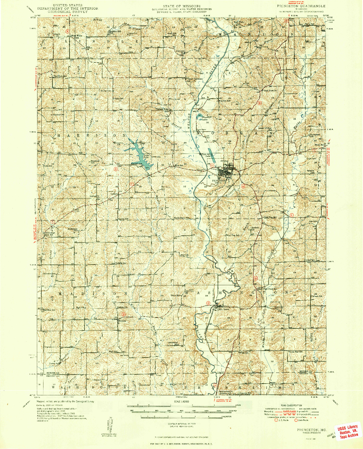 USGS 1:62500-SCALE QUADRANGLE FOR PRINCETON, MO 1948