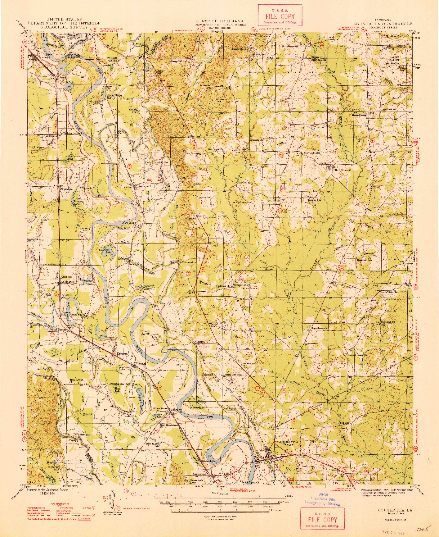 USGS 1:62500-SCALE QUADRANGLE FOR COUSHATTA, LA 1948