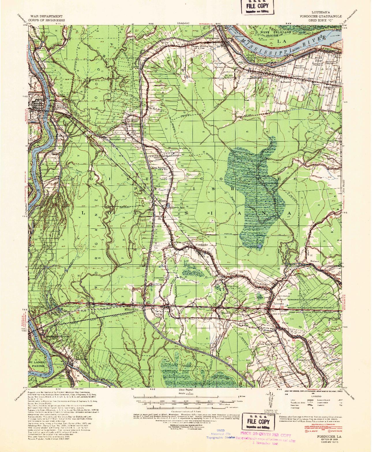 USGS 1:62500-SCALE QUADRANGLE FOR FORDOCHE, LA 1939