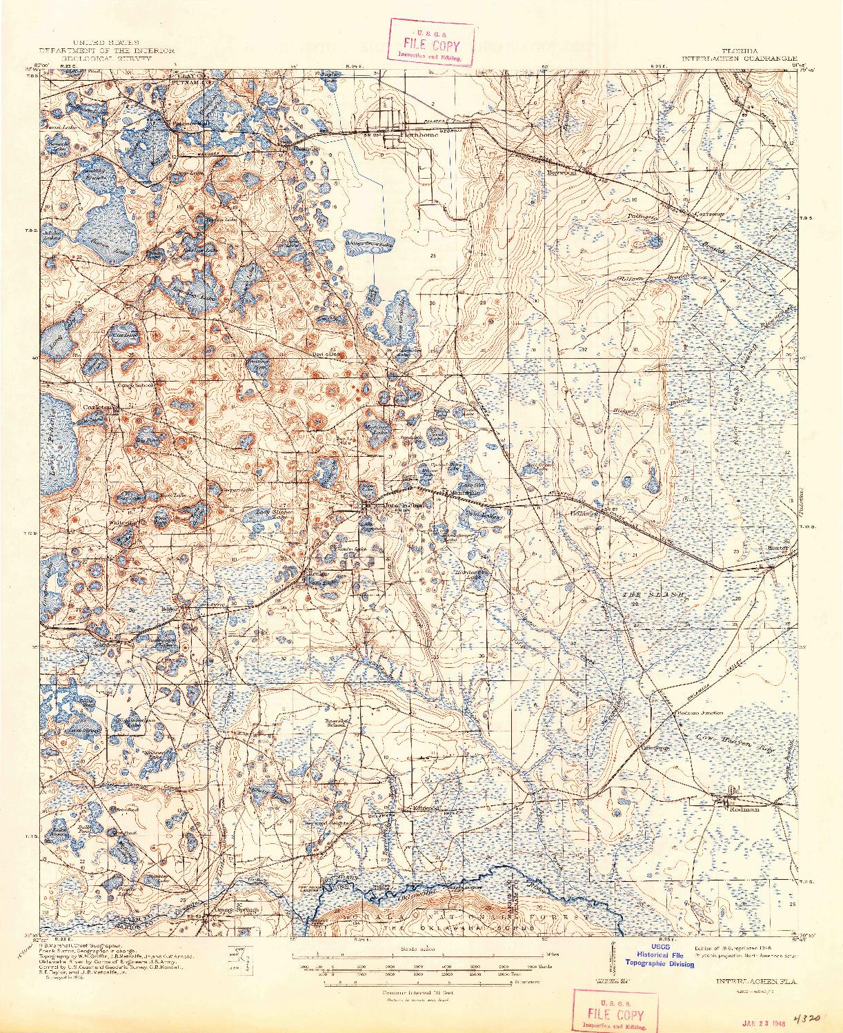 USGS 1:62500-SCALE QUADRANGLE FOR INTERLACHEN, FL 1916