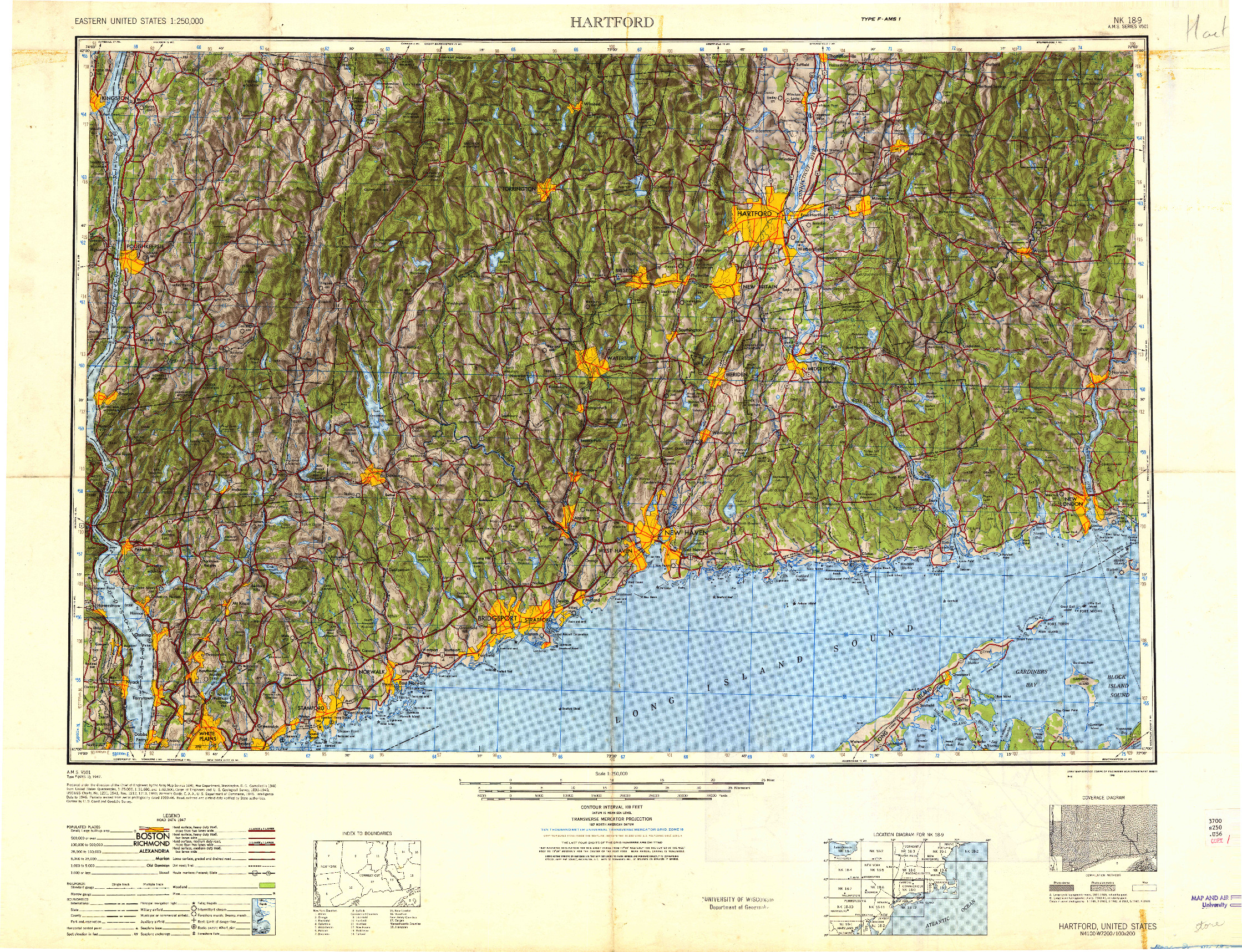 USGS 1:250000-SCALE QUADRANGLE FOR HARTFORD, CT 1948