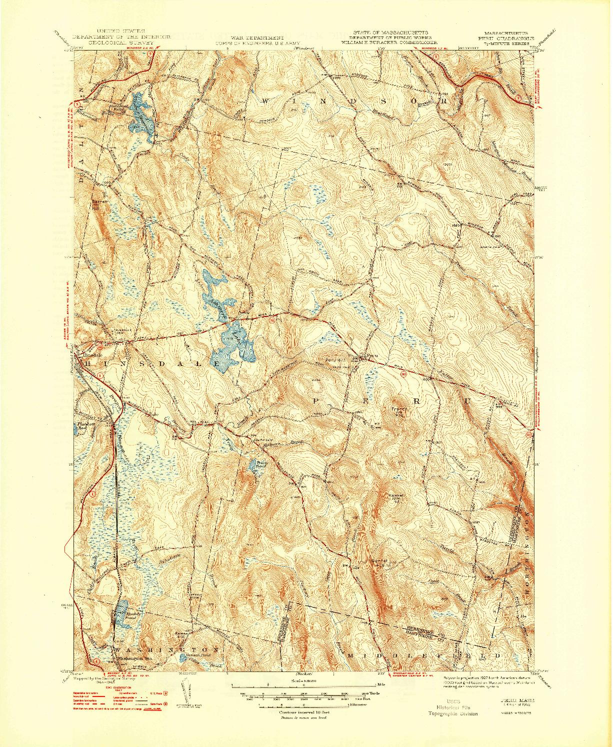 USGS 1:31680-SCALE QUADRANGLE FOR PERU, MA 1948