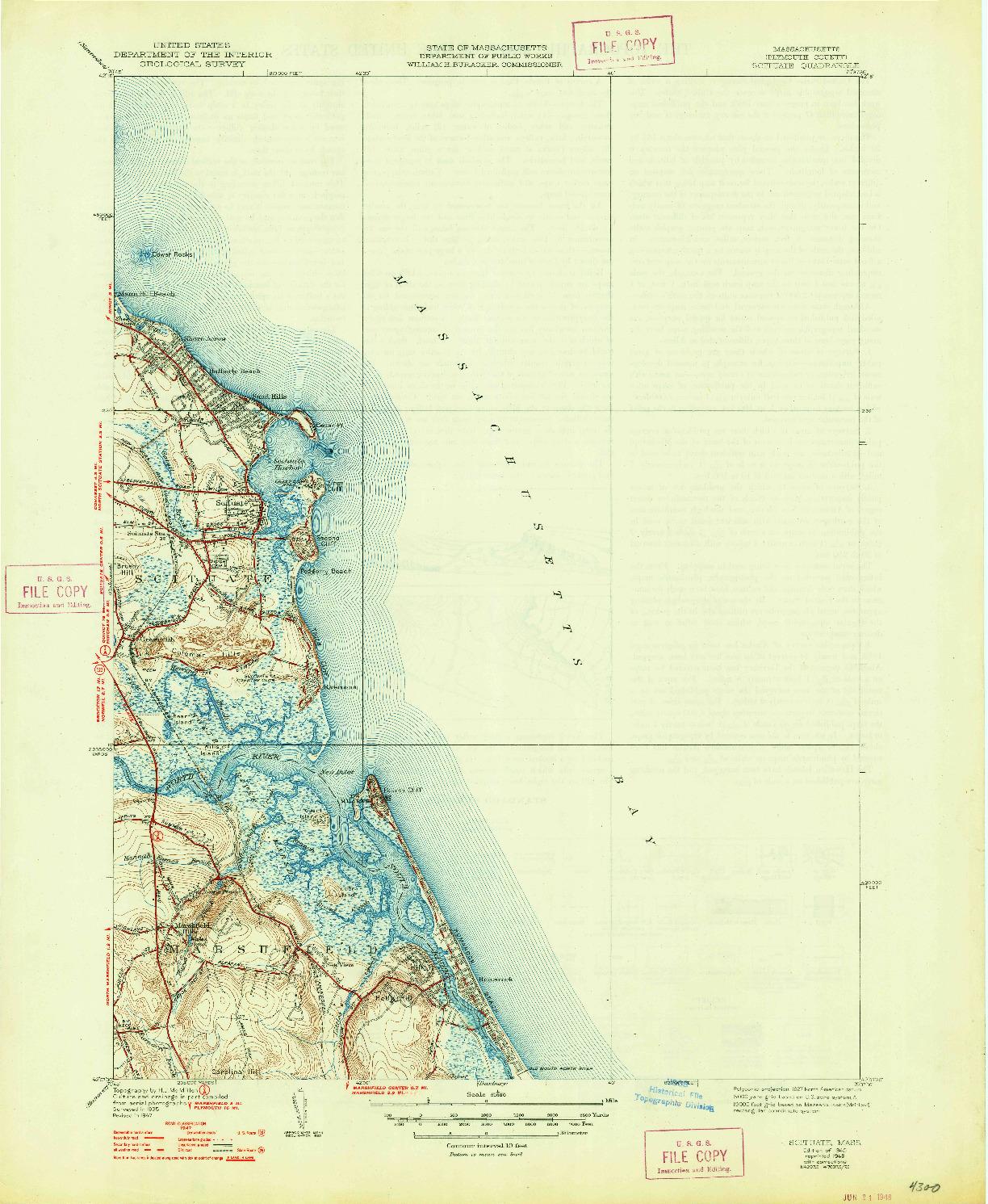 USGS 1:31680-SCALE QUADRANGLE FOR SCITUATE, MA 1940