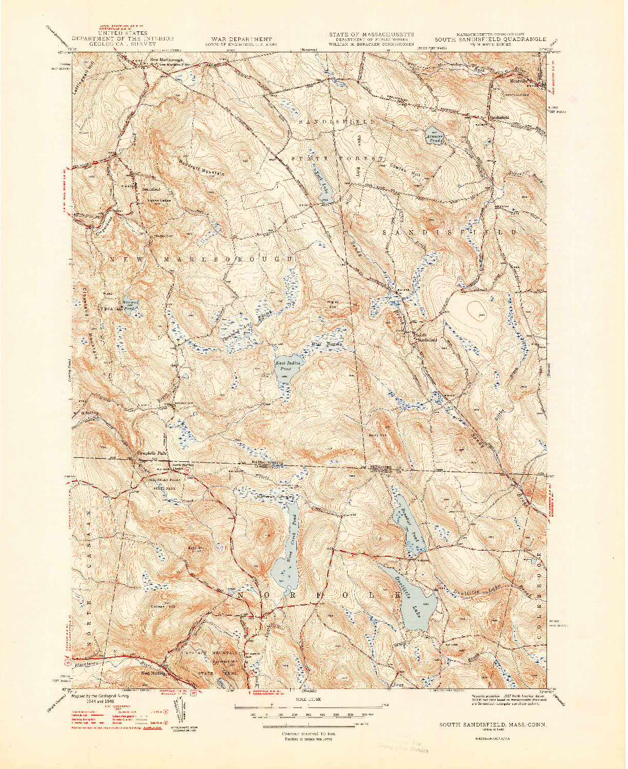 USGS 1:31680-SCALE QUADRANGLE FOR SOUTH SANDISFIELD, MA 1948