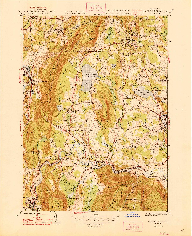 USGS 1:31680-SCALE QUADRANGLE FOR STOCKBRIDGE, MA 1948