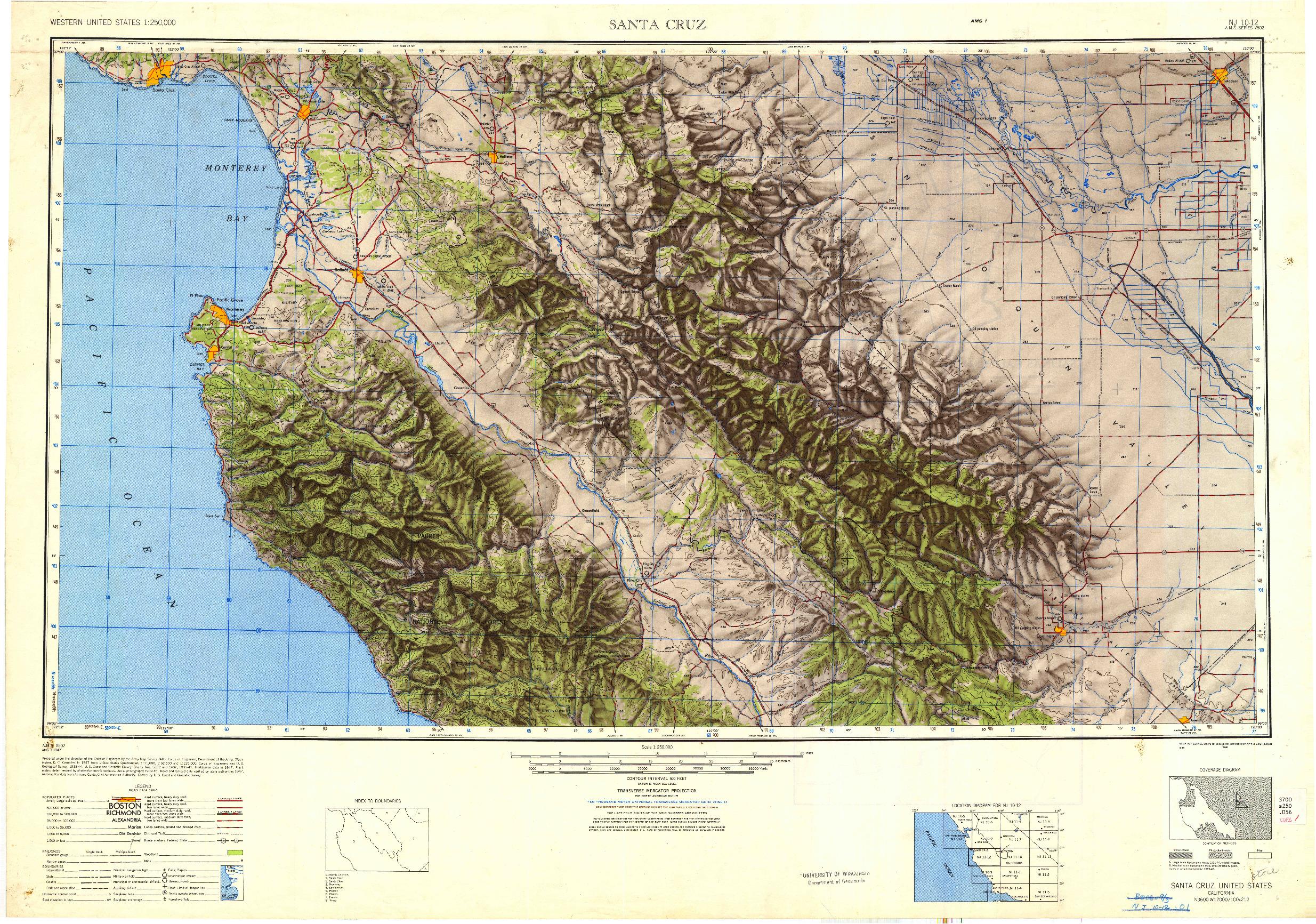 USGS 1:250000-SCALE QUADRANGLE FOR SANTA CRUZ, CA 1948