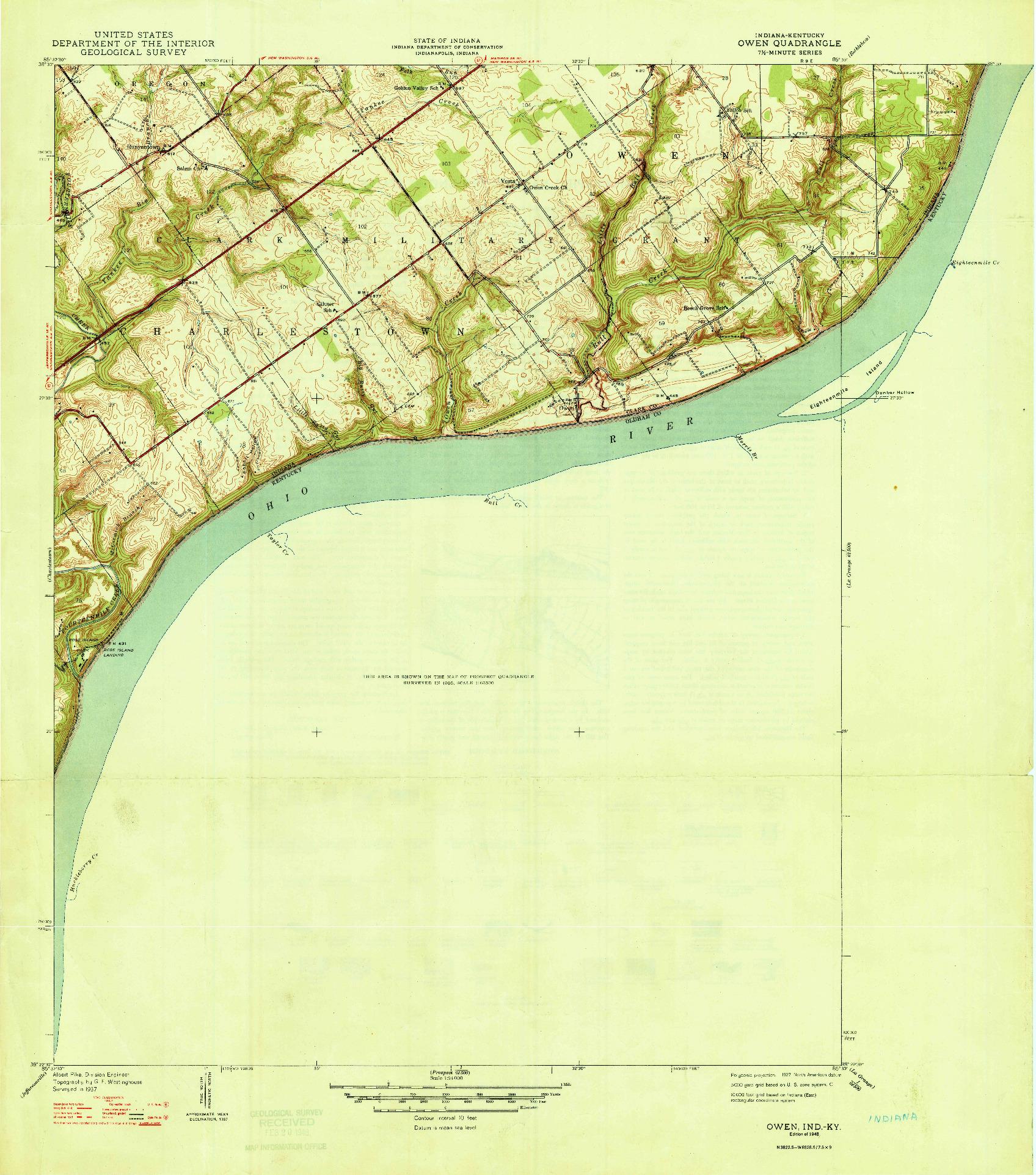 USGS 1:24000-SCALE QUADRANGLE FOR OWEN, IN 1948