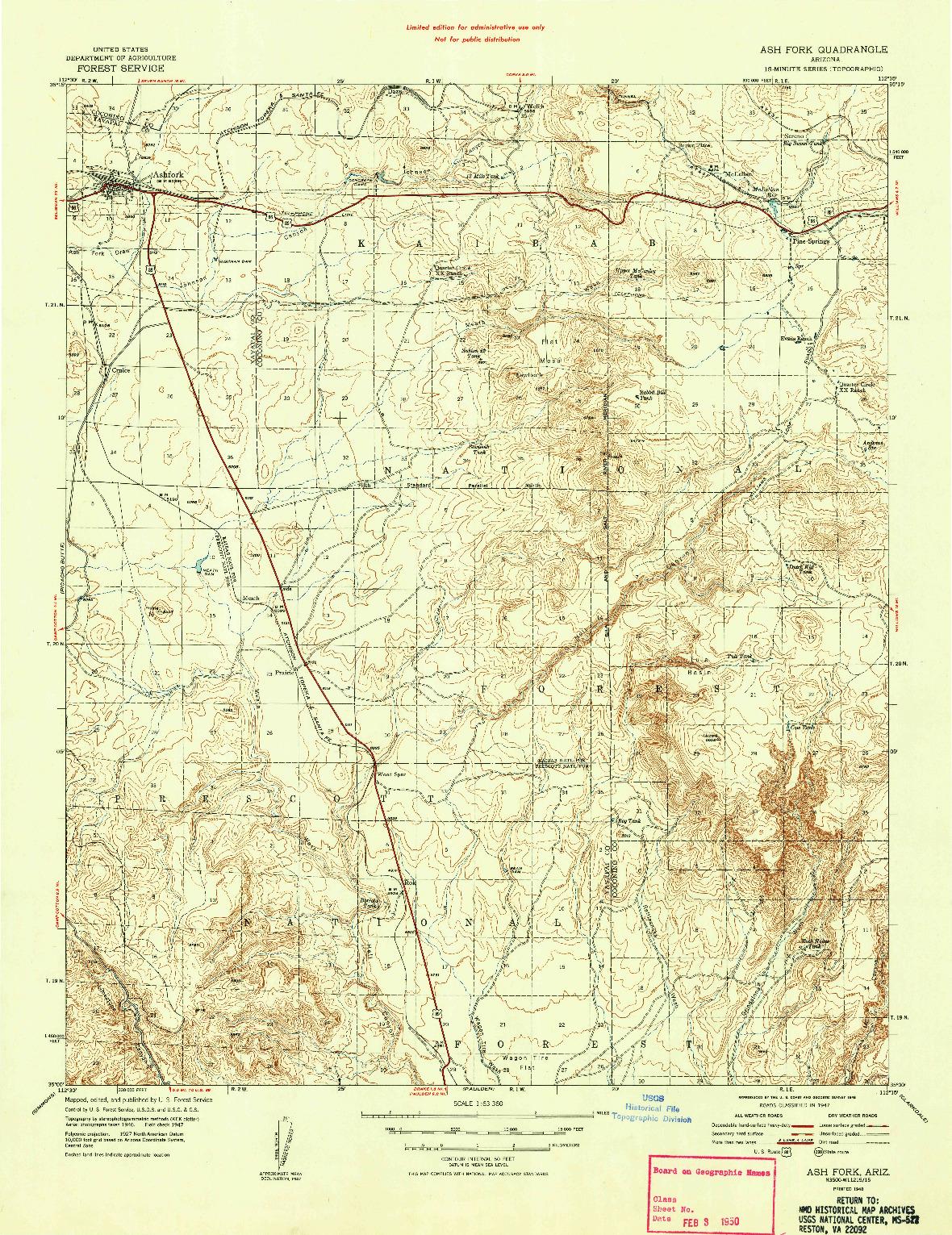 USGS 1:63360-SCALE QUADRANGLE FOR ASH FORK, AZ 1948