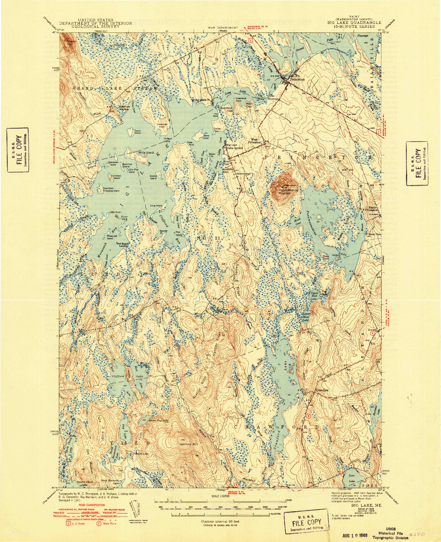 USGS 1:62500-SCALE QUADRANGLE FOR BIG LAKE, ME 1943