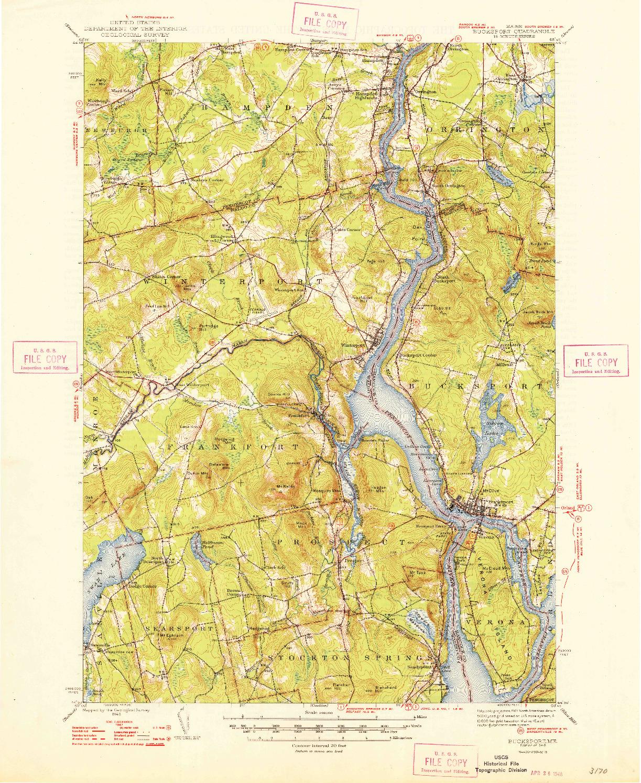 USGS 1:62500-SCALE QUADRANGLE FOR BUCKSPORT, ME 1948