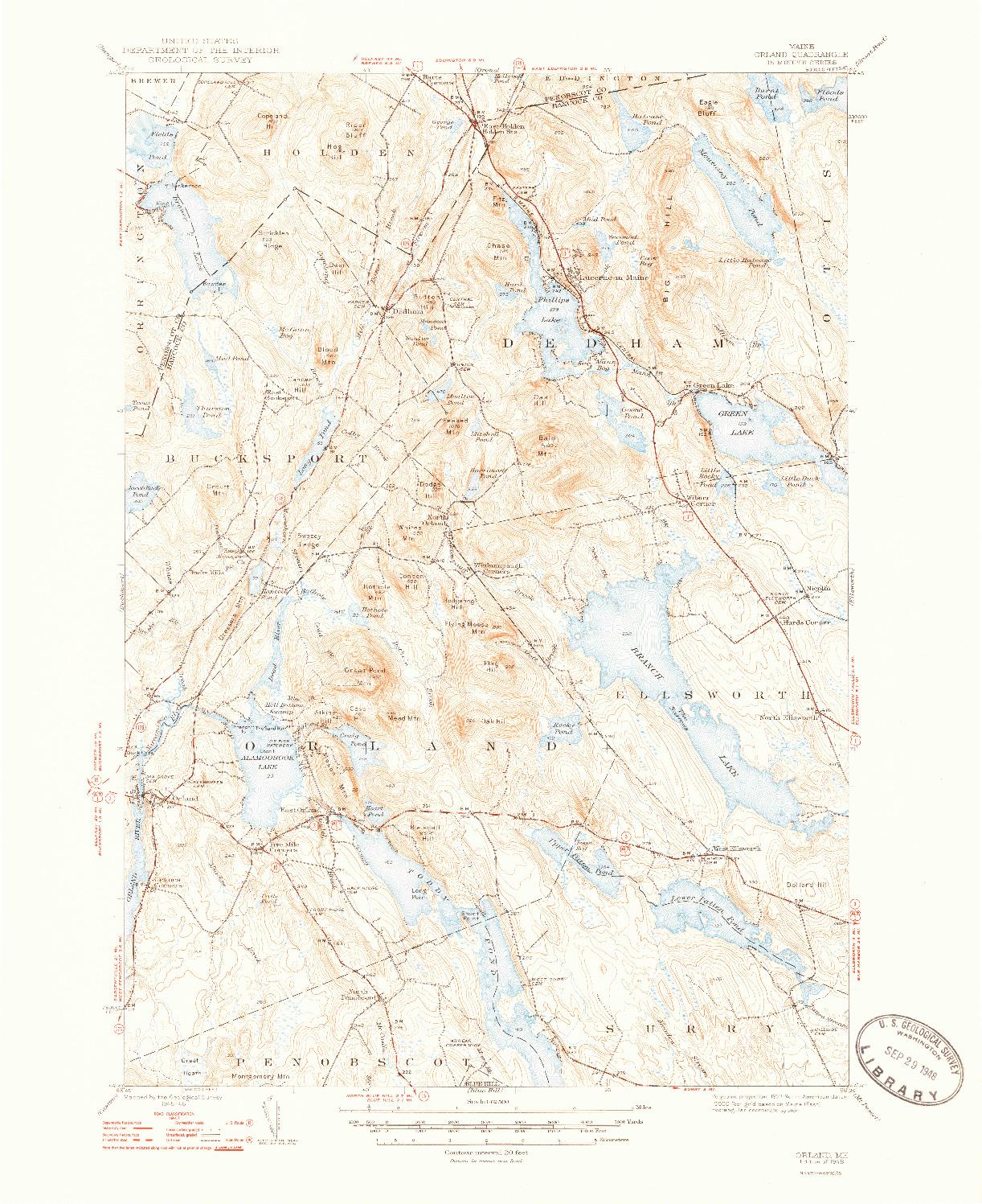USGS 1:62500-SCALE QUADRANGLE FOR ORLAND, ME 1948
