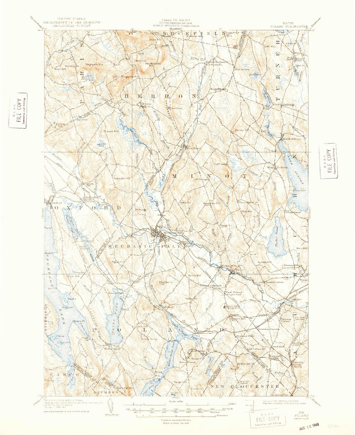 USGS 1:62500-SCALE QUADRANGLE FOR POLAND, ME 1908