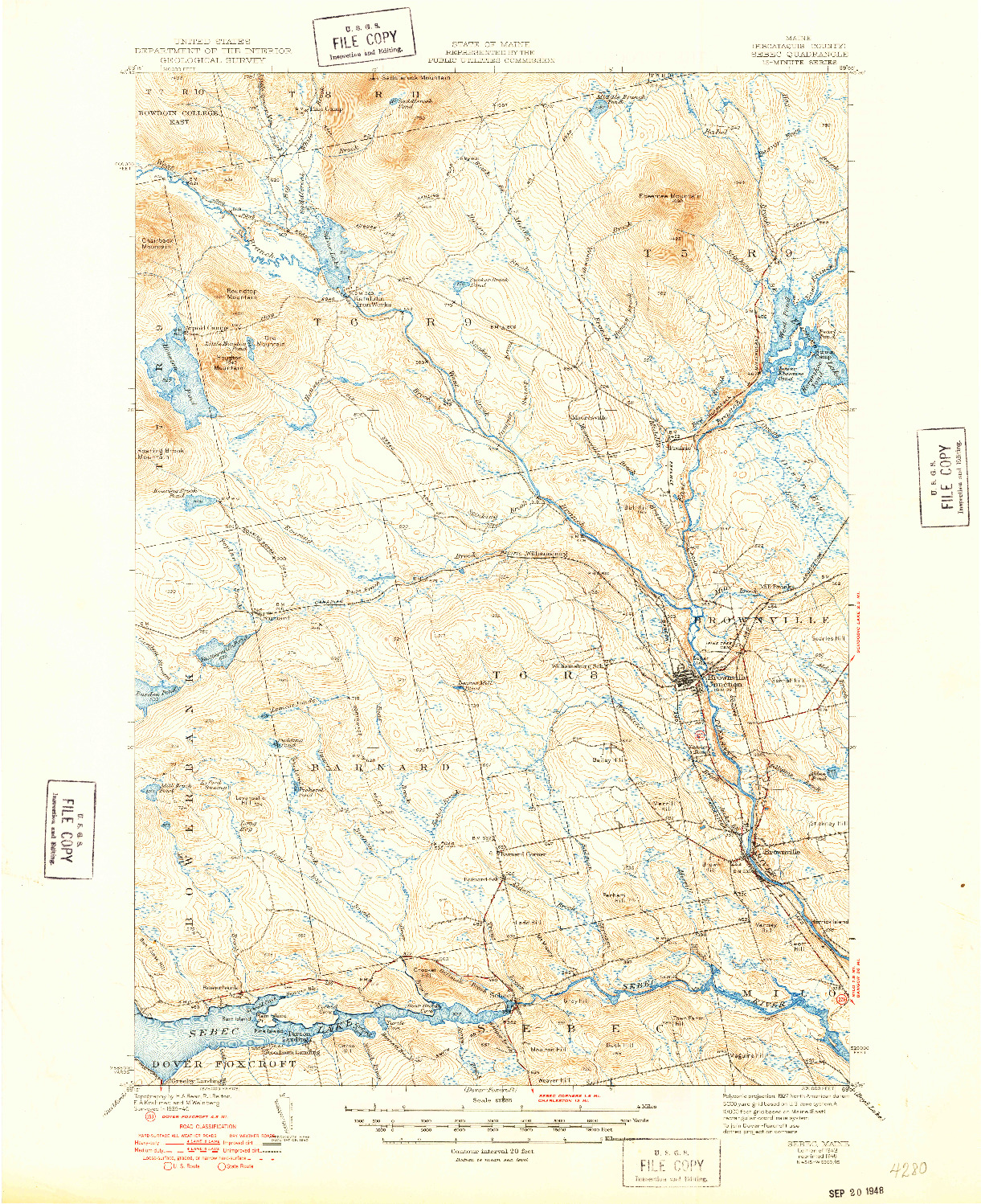USGS 1:62500-SCALE QUADRANGLE FOR SEBEC, ME 1943